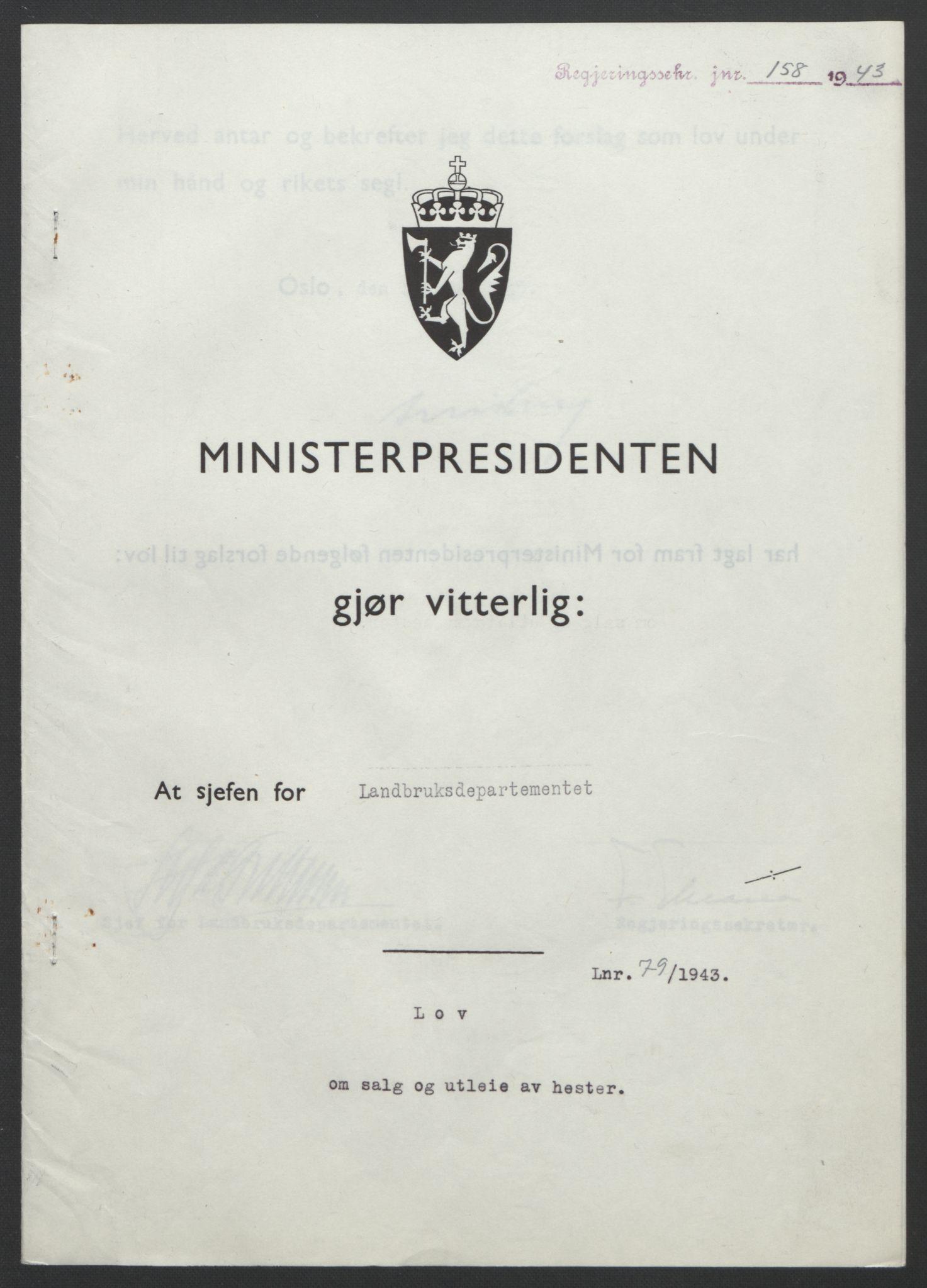 RA, NS-administrasjonen 1940-1945 (Statsrådsekretariatet, de kommisariske statsråder mm), D/Db/L0099: Lover, 1943, s. 361