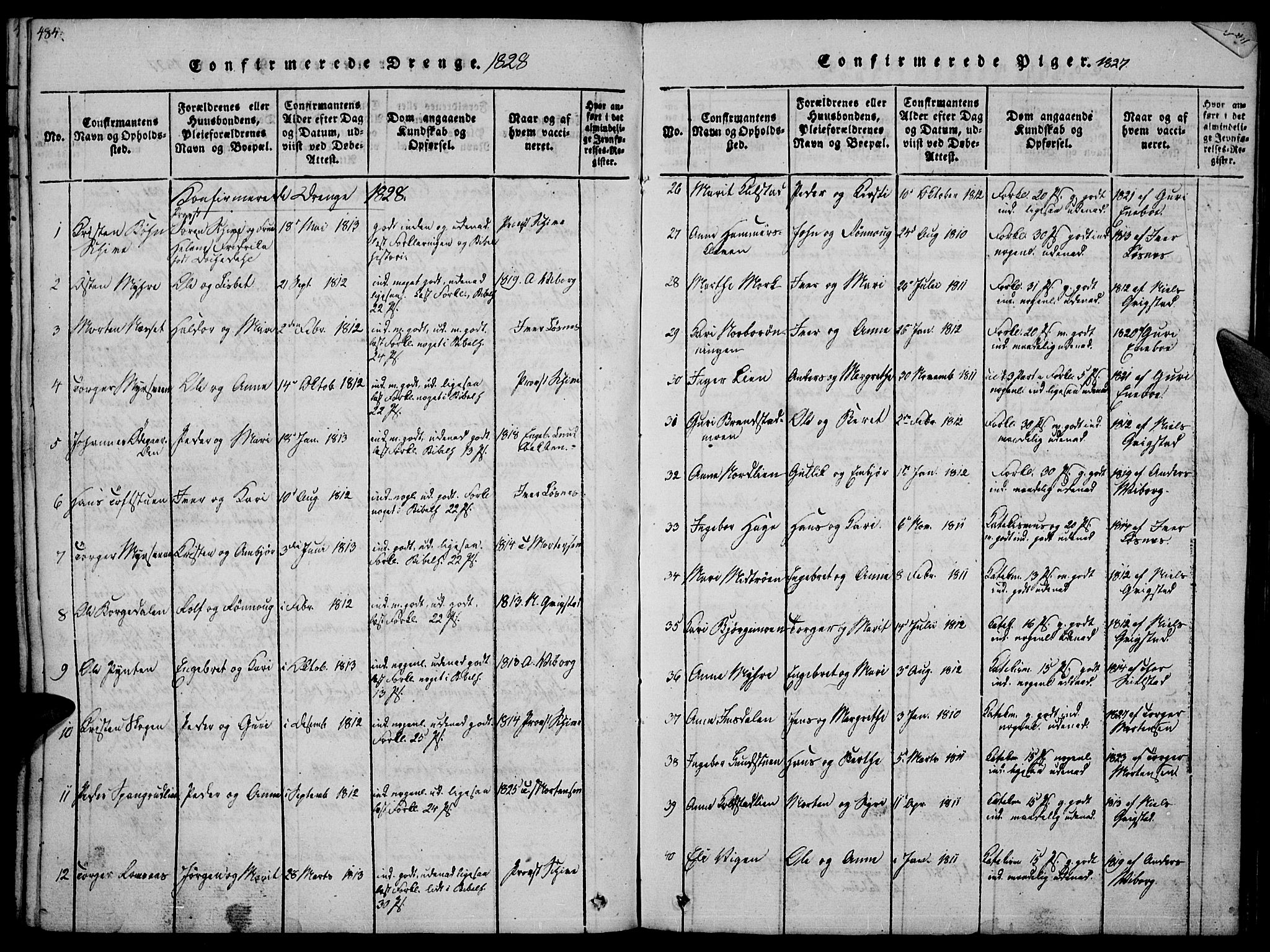 SAH, Ringebu prestekontor, Ministerialbok nr. 4, 1821-1839, s. 484-485