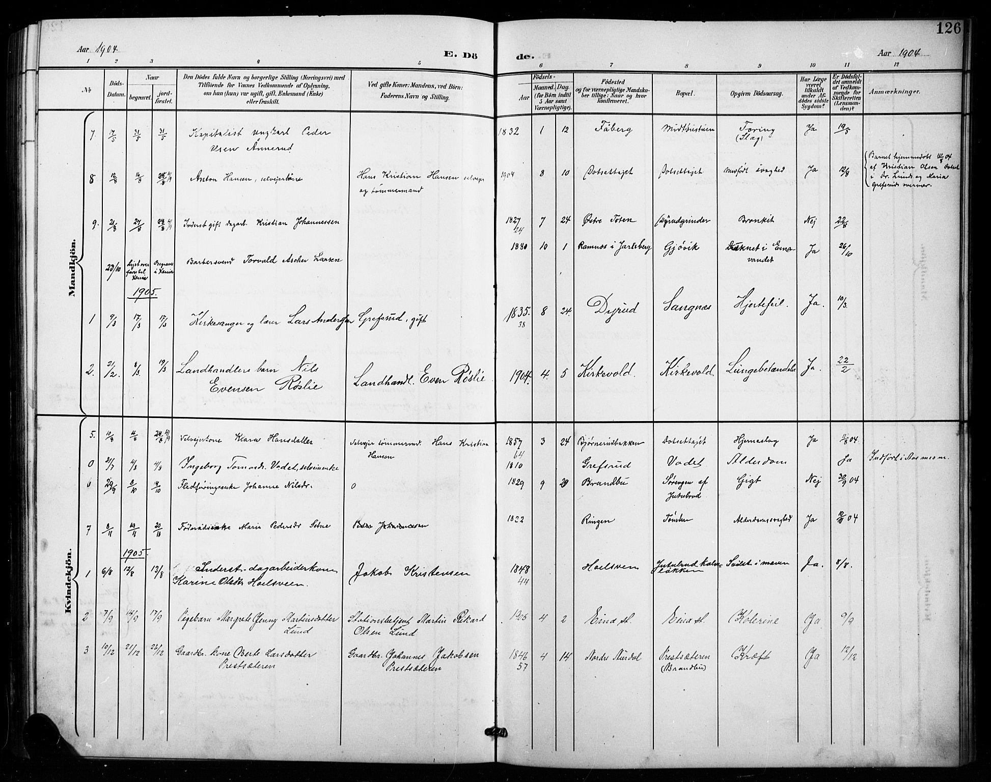 SAH, Vestre Toten prestekontor, Klokkerbok nr. 16, 1901-1915, s. 126