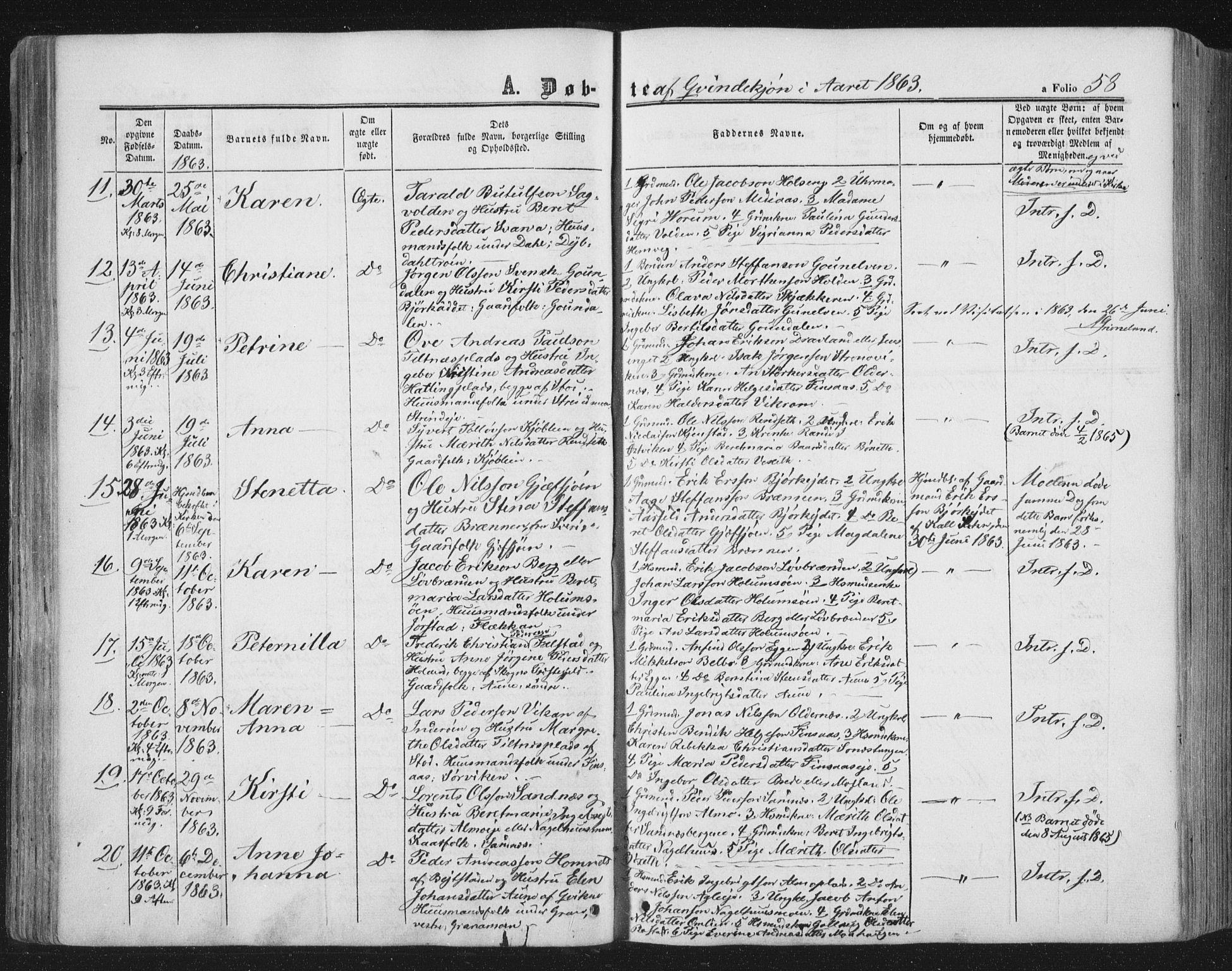 SAT, Ministerialprotokoller, klokkerbøker og fødselsregistre - Nord-Trøndelag, 749/L0472: Ministerialbok nr. 749A06, 1857-1873, s. 58