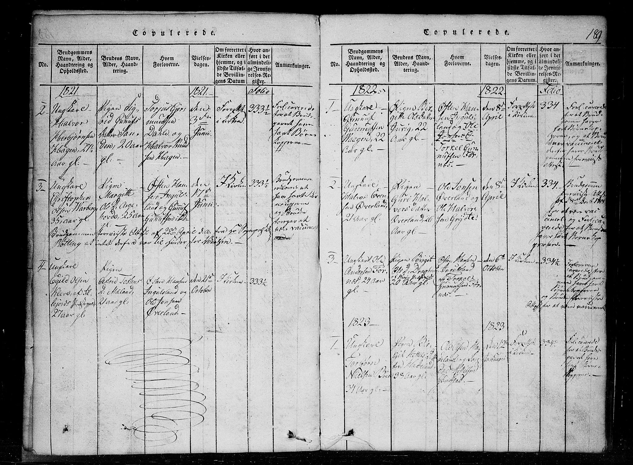 SAKO, Tinn kirkebøker, G/Gc/L0001: Klokkerbok nr. III 1, 1815-1879, s. 189