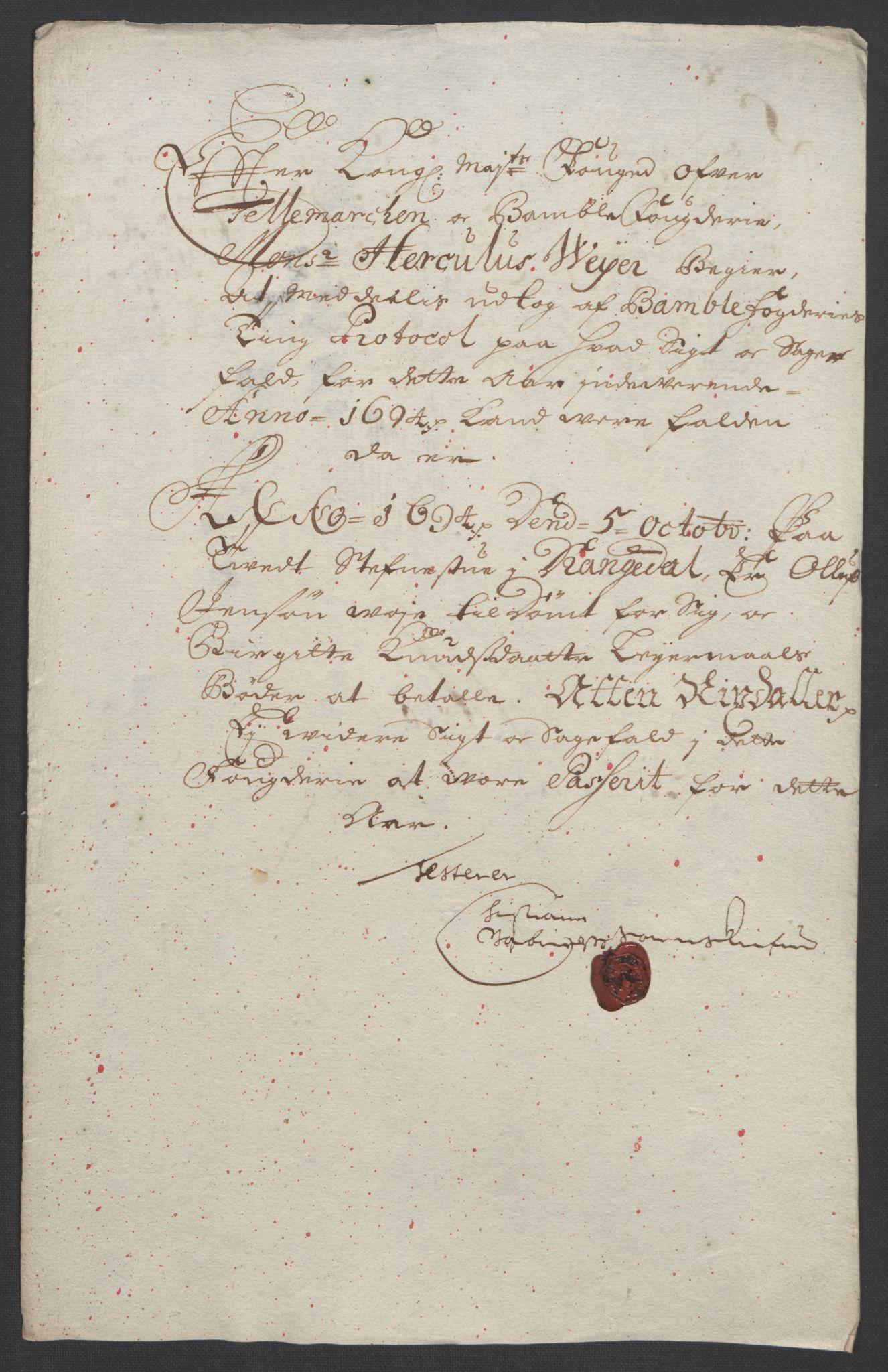 RA, Rentekammeret inntil 1814, Reviderte regnskaper, Fogderegnskap, R36/L2092: Fogderegnskap Øvre og Nedre Telemark og Bamble, 1694, s. 185