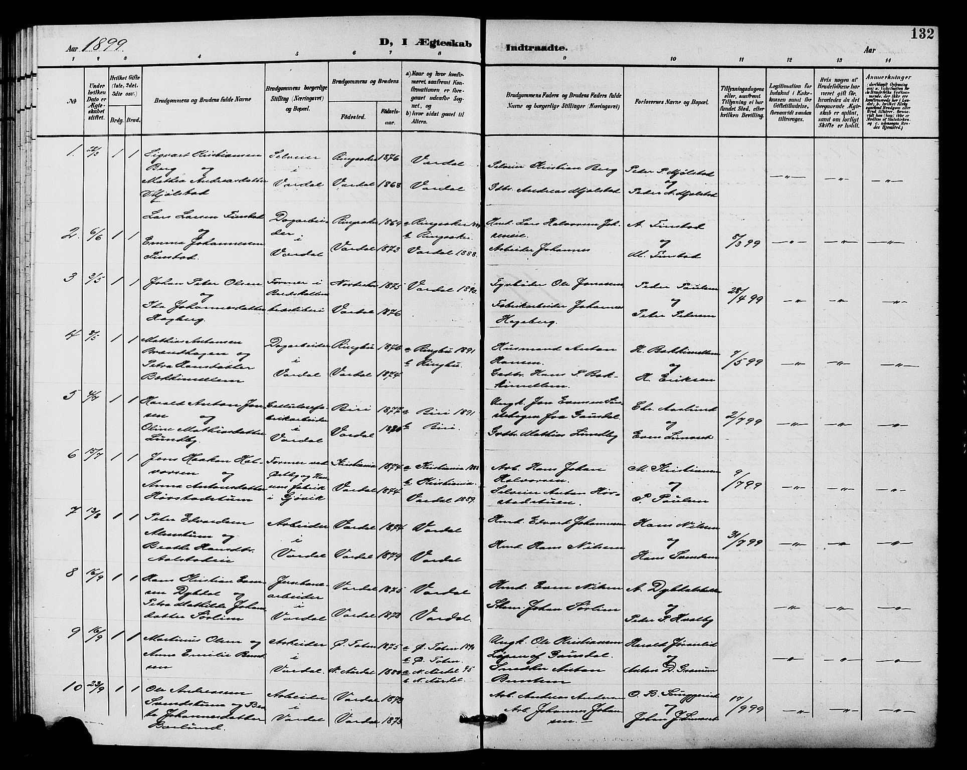 SAH, Vardal prestekontor, H/Ha/Hab/L0011: Klokkerbok nr. 11, 1899-1913, s. 132