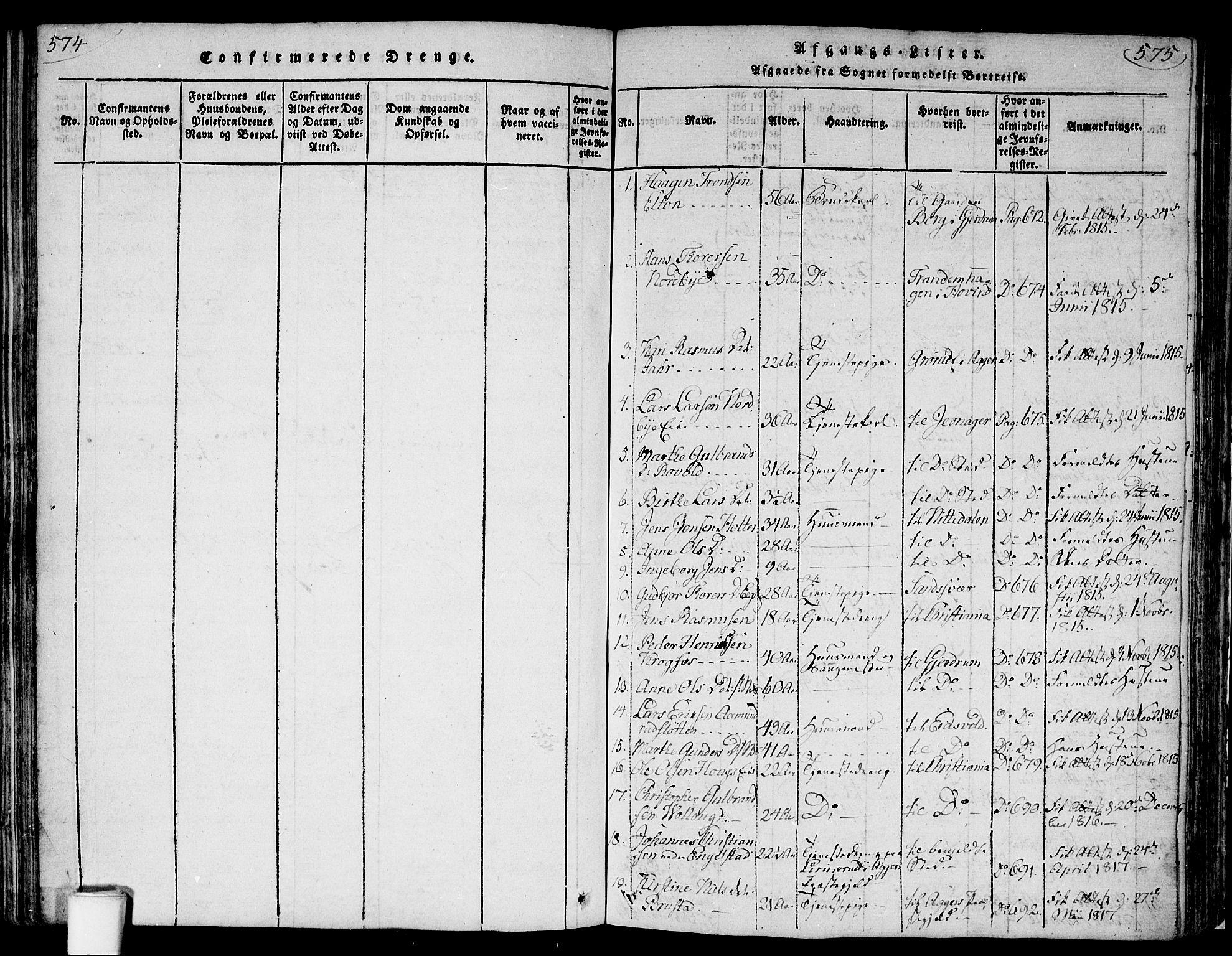 SAO, Nannestad prestekontor Kirkebøker, F/Fa/L0009: Ministerialbok nr. I 9, 1815-1840, s. 574-575