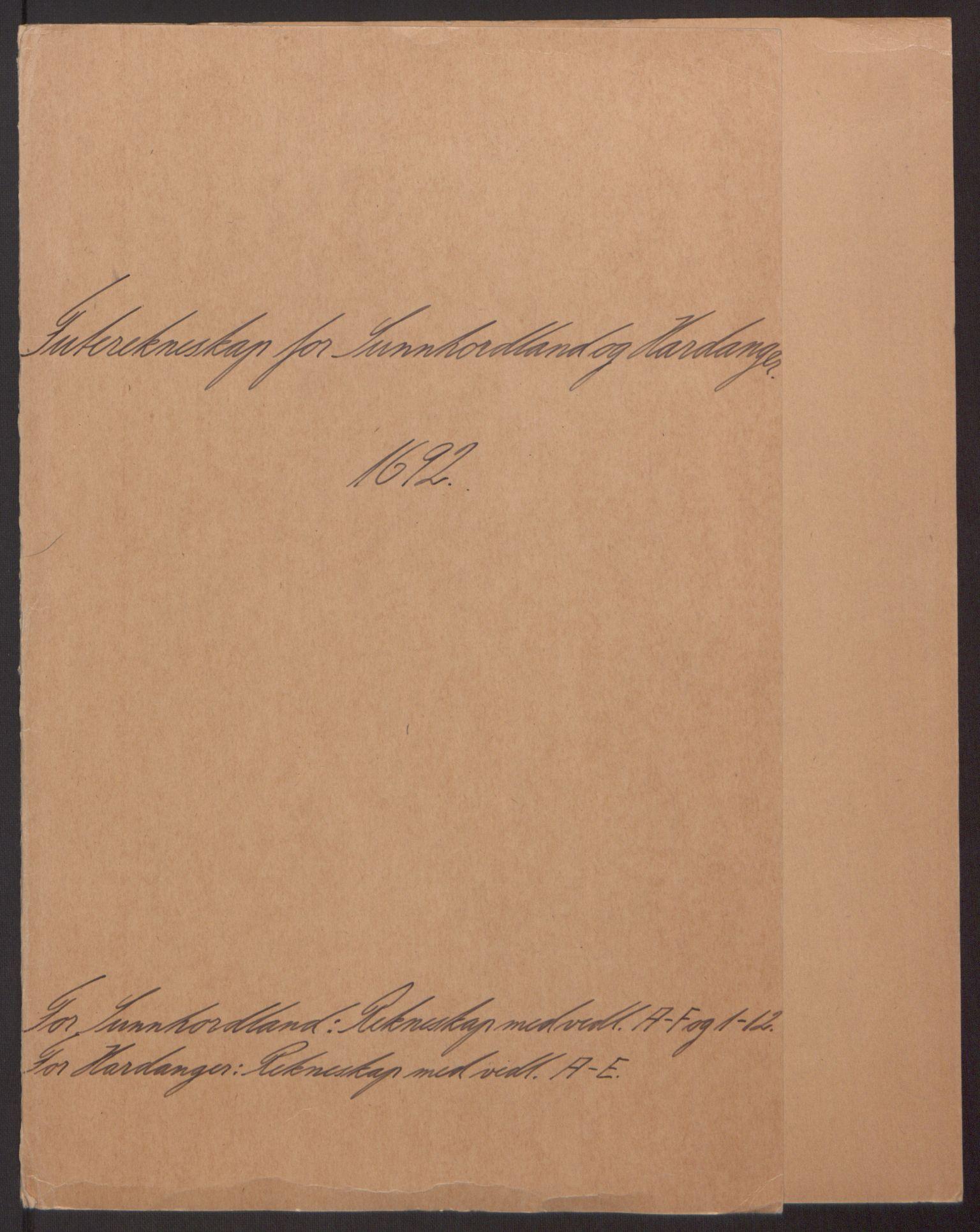 RA, Rentekammeret inntil 1814, Reviderte regnskaper, Fogderegnskap, R48/L2973: Fogderegnskap Sunnhordland og Hardanger, 1691-1692, s. 320