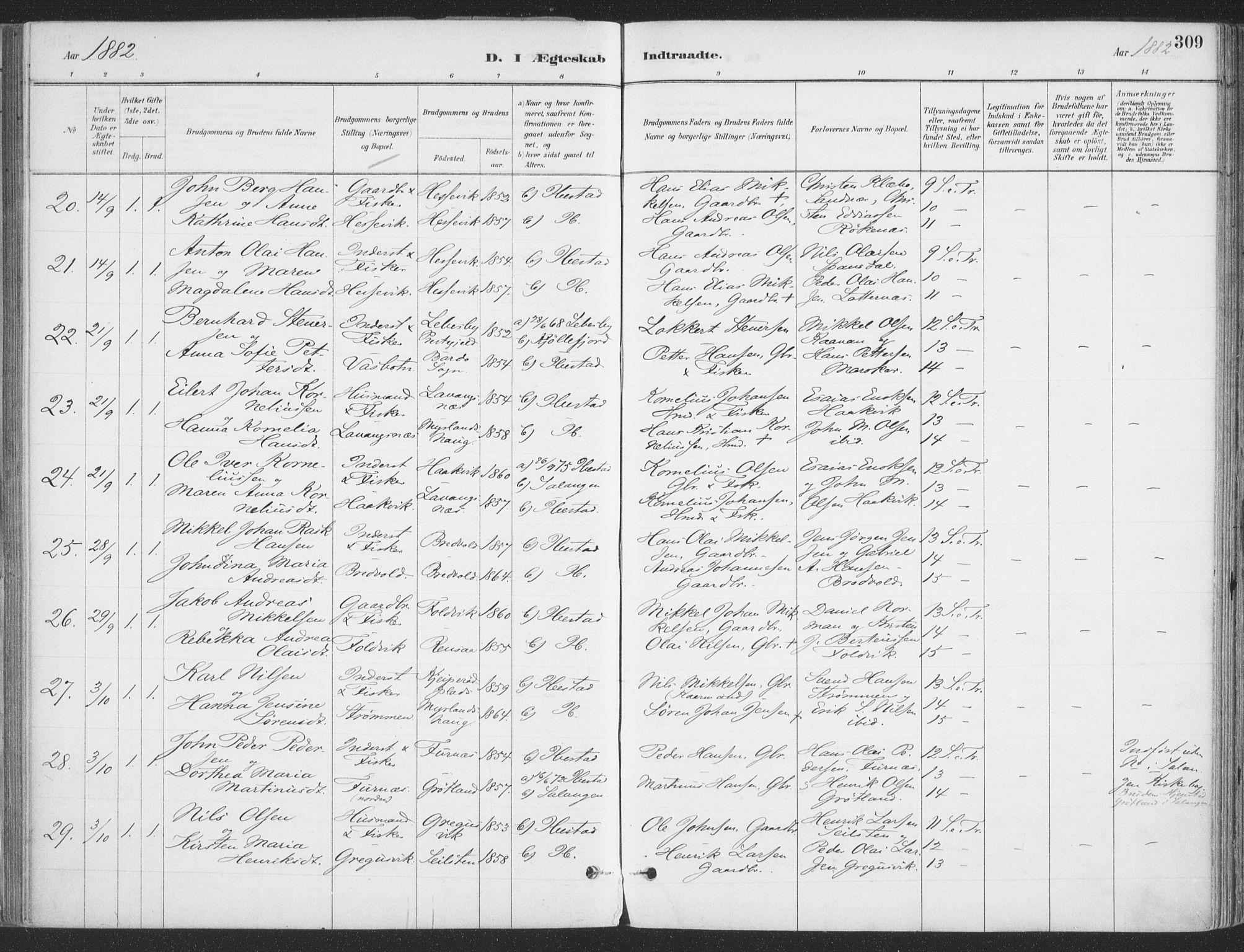 SATØ, Ibestad sokneprestembete, Ministerialbok nr. 11, 1880-1889, s. 309