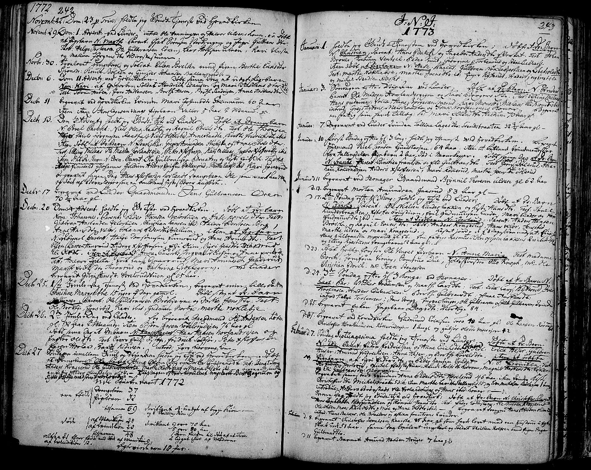 SAH, Jevnaker prestekontor, Ministerialbok nr. 3, 1752-1799, s. 242-243