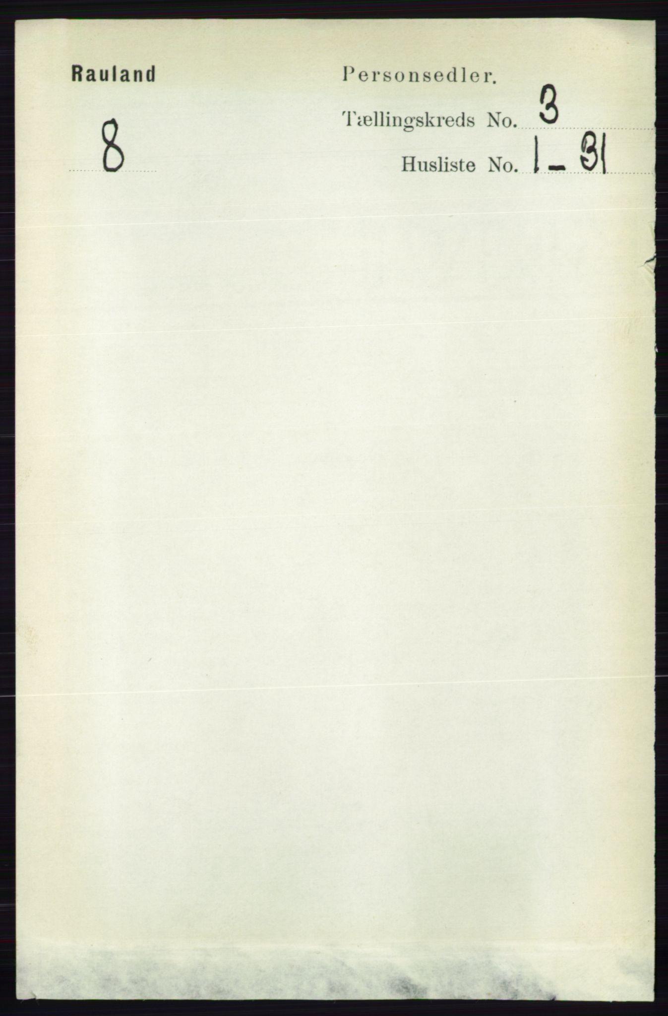 RA, Folketelling 1891 for 0835 Rauland herred, 1891, s. 769
