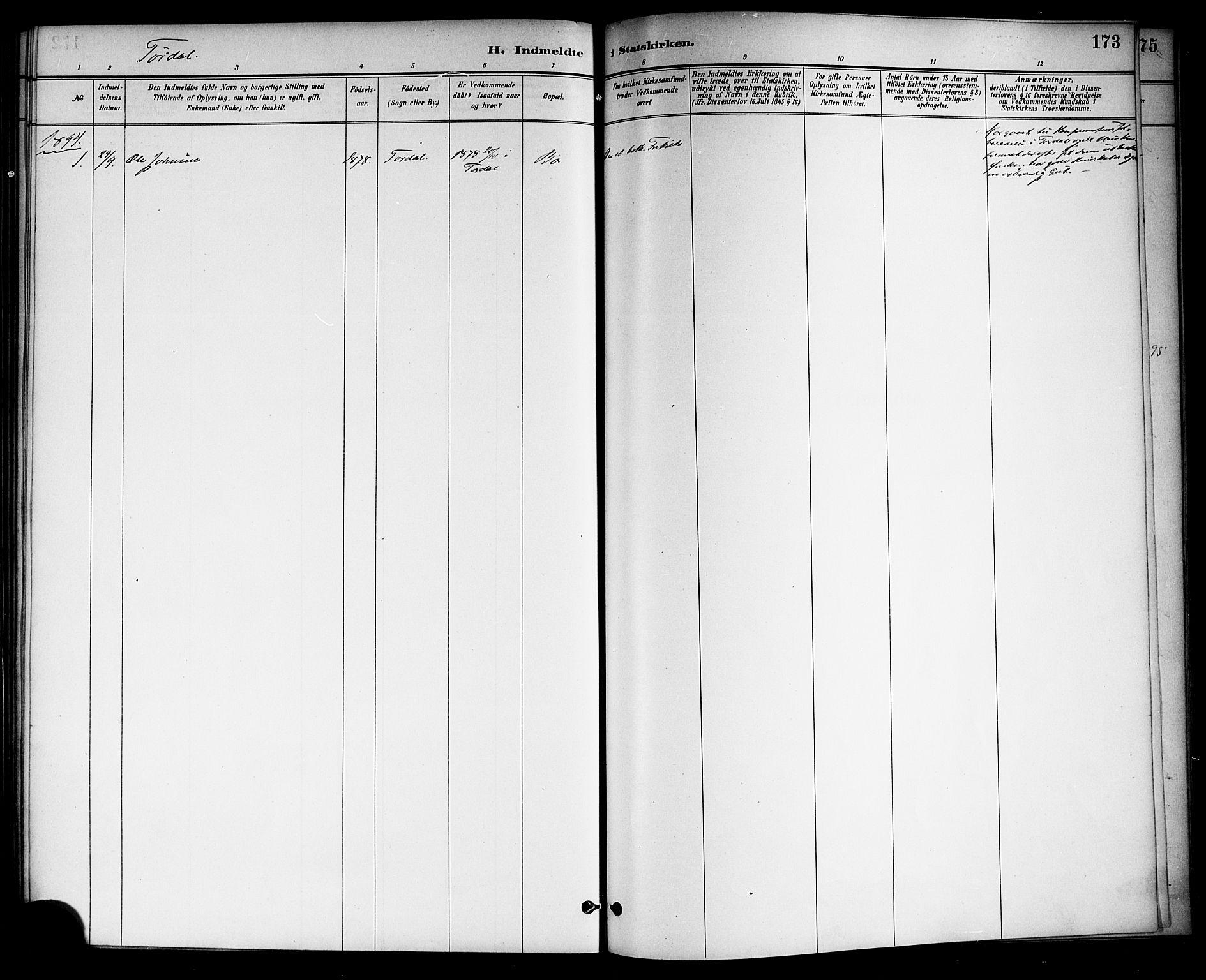 SAKO, Drangedal kirkebøker, F/Fa/L0011: Ministerialbok nr. 11 /2, 1885-1894, s. 173