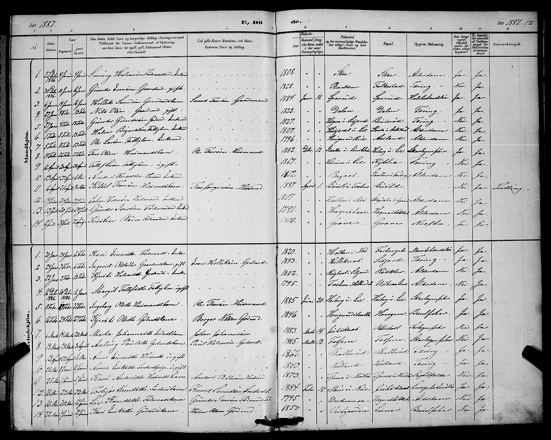 SAKO, Bø kirkebøker, G/Ga/L0005: Klokkerbok nr. 5, 1883-1897, s. 176