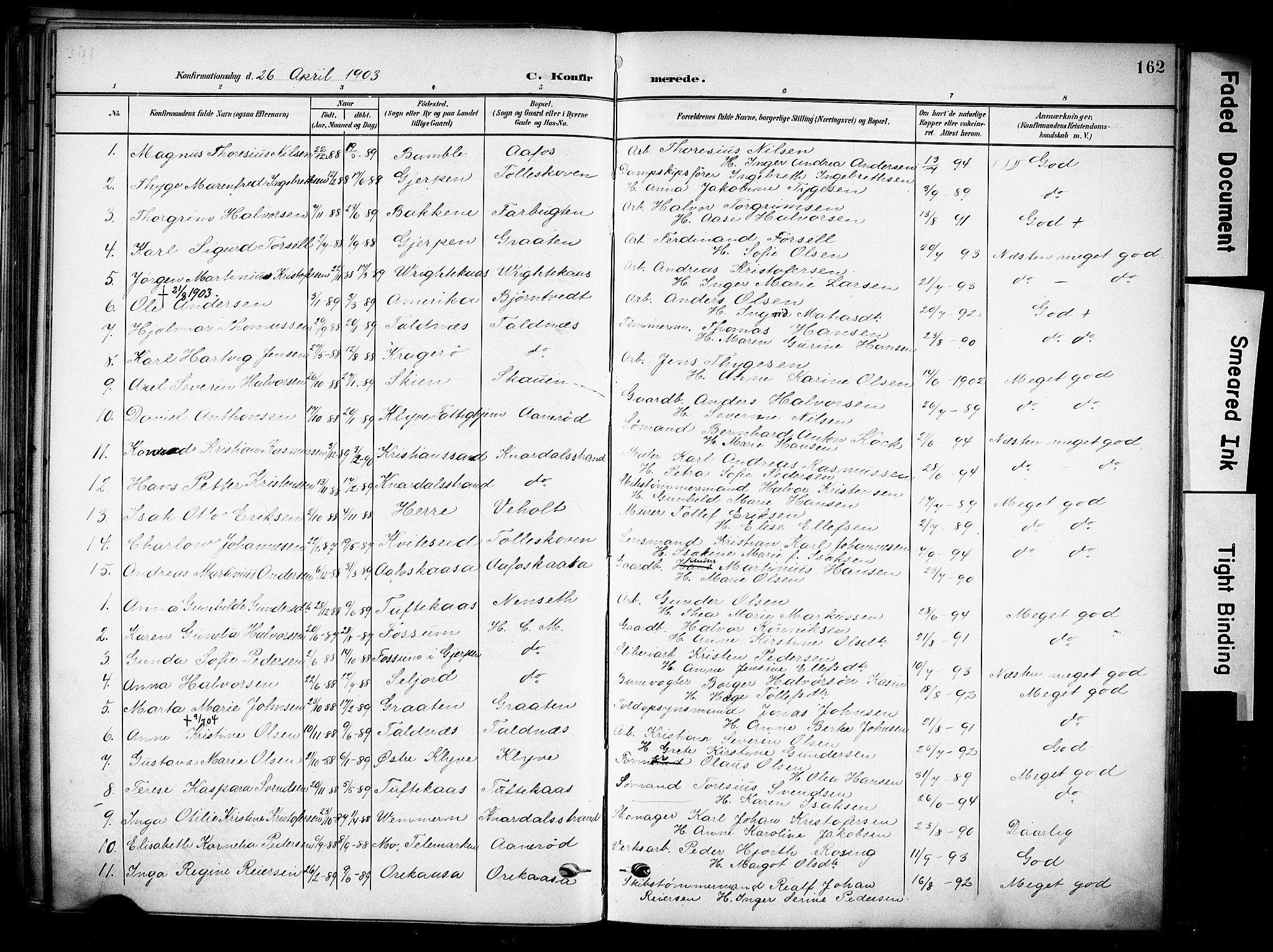 SAKO, Solum kirkebøker, F/Fa/L0011: Ministerialbok nr. I 11, 1898-1909, s. 162