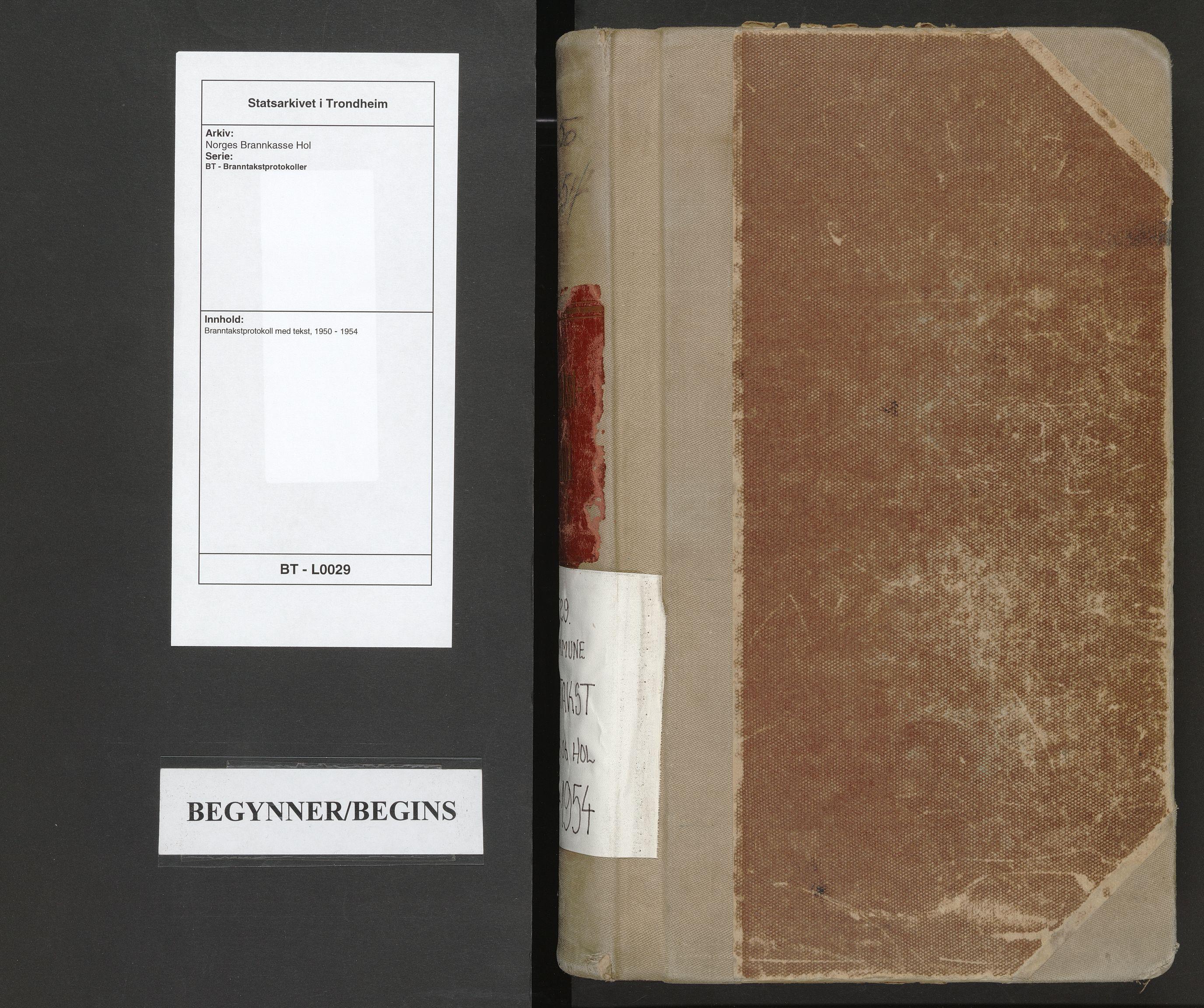 SAT, Norges Brannkasse Hol, BT/L0029: Branntakstprotokoll med tekst, 1950-1954