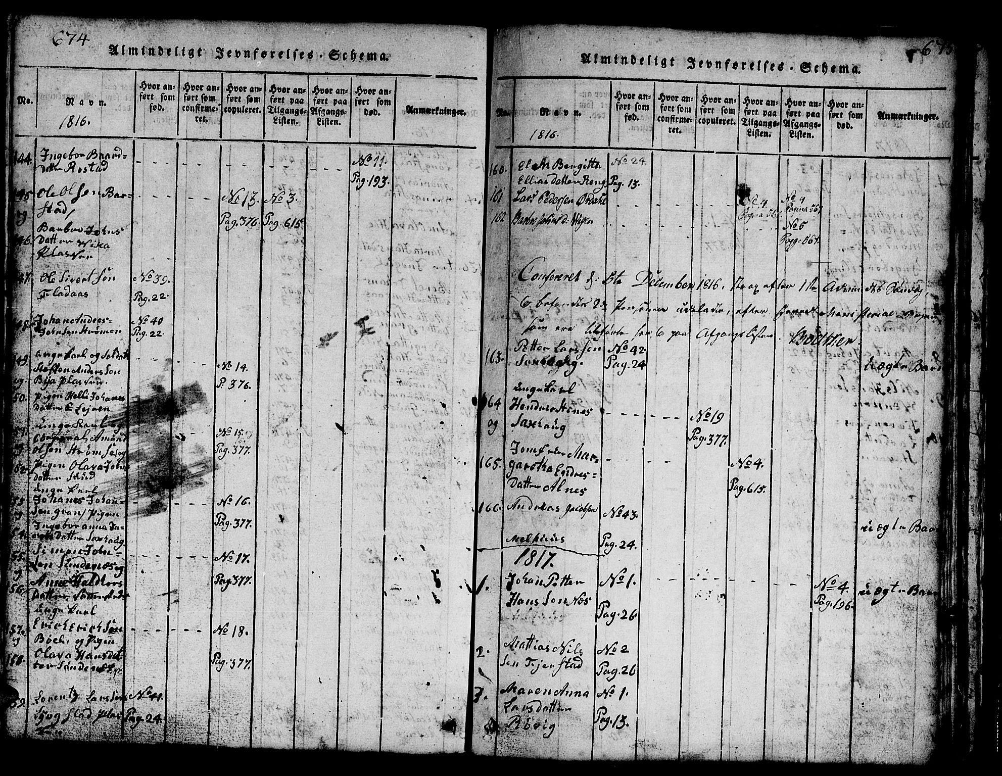 SAT, Ministerialprotokoller, klokkerbøker og fødselsregistre - Nord-Trøndelag, 730/L0298: Klokkerbok nr. 730C01, 1816-1849, s. 674-675