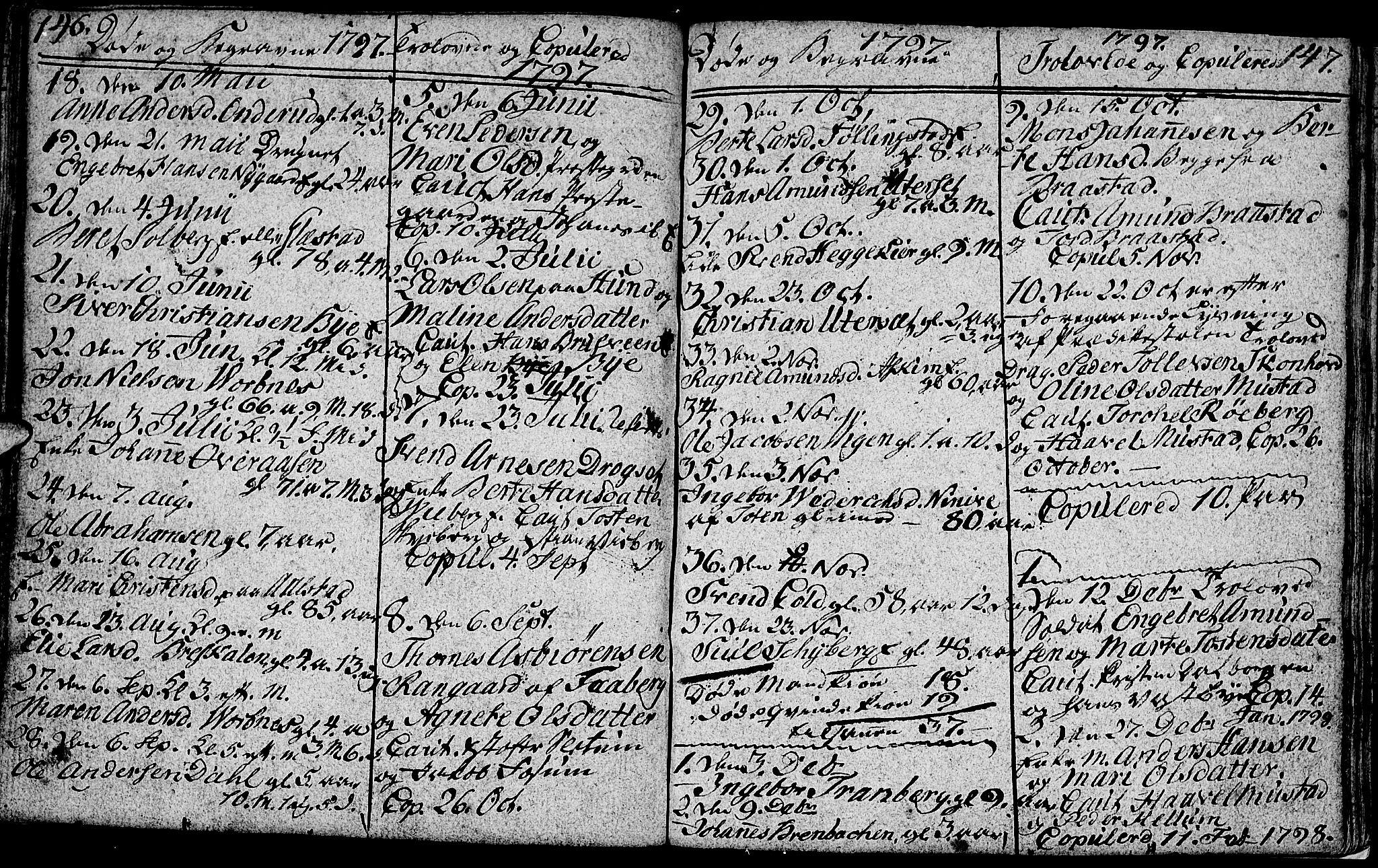 SAH, Vardal prestekontor, H/Ha/Hab/L0002: Klokkerbok nr. 2, 1790-1803, s. 146-147