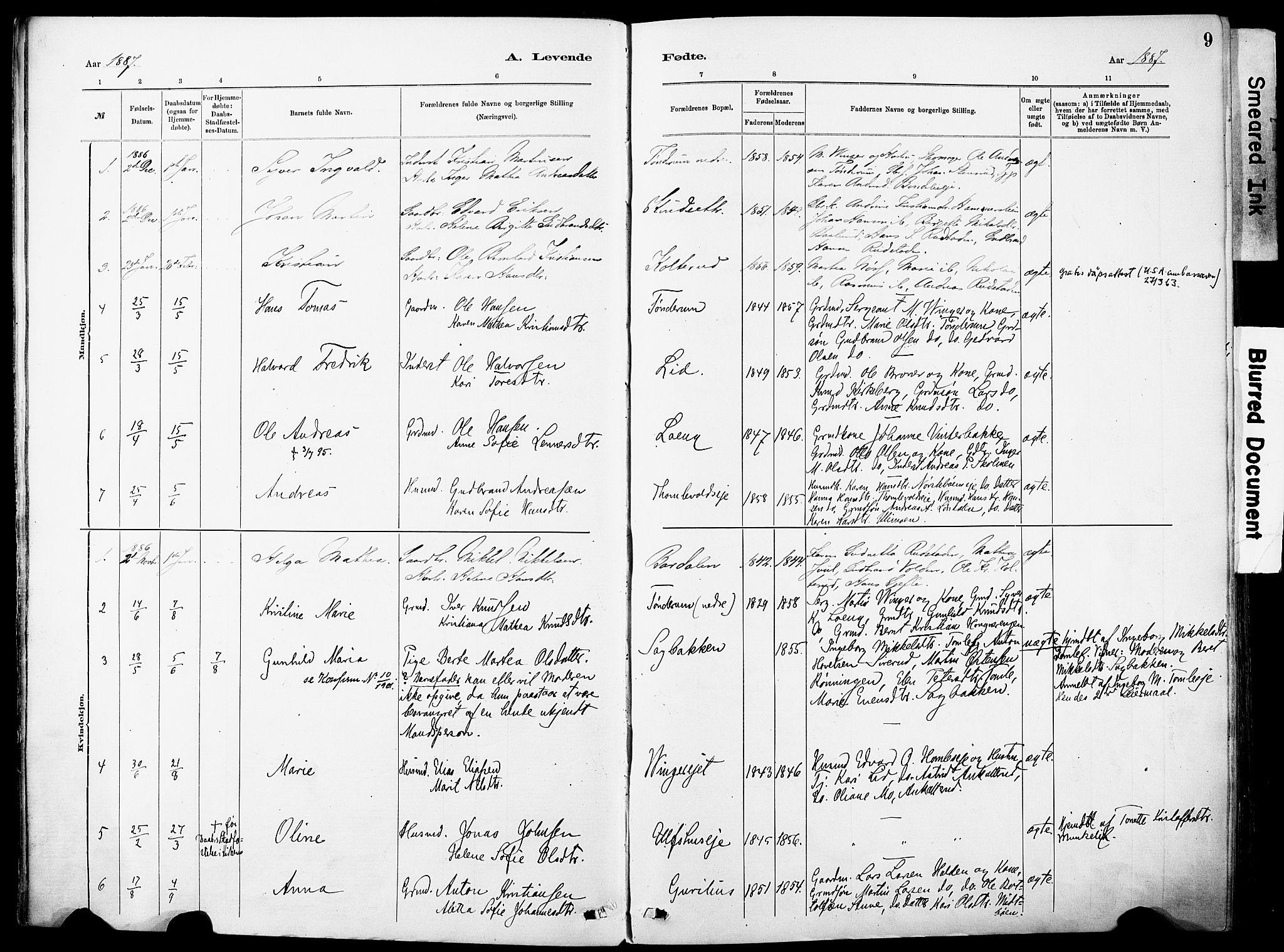 SAH, Nordre Land prestekontor, Ministerialbok nr. 5, 1882-1903, s. 9