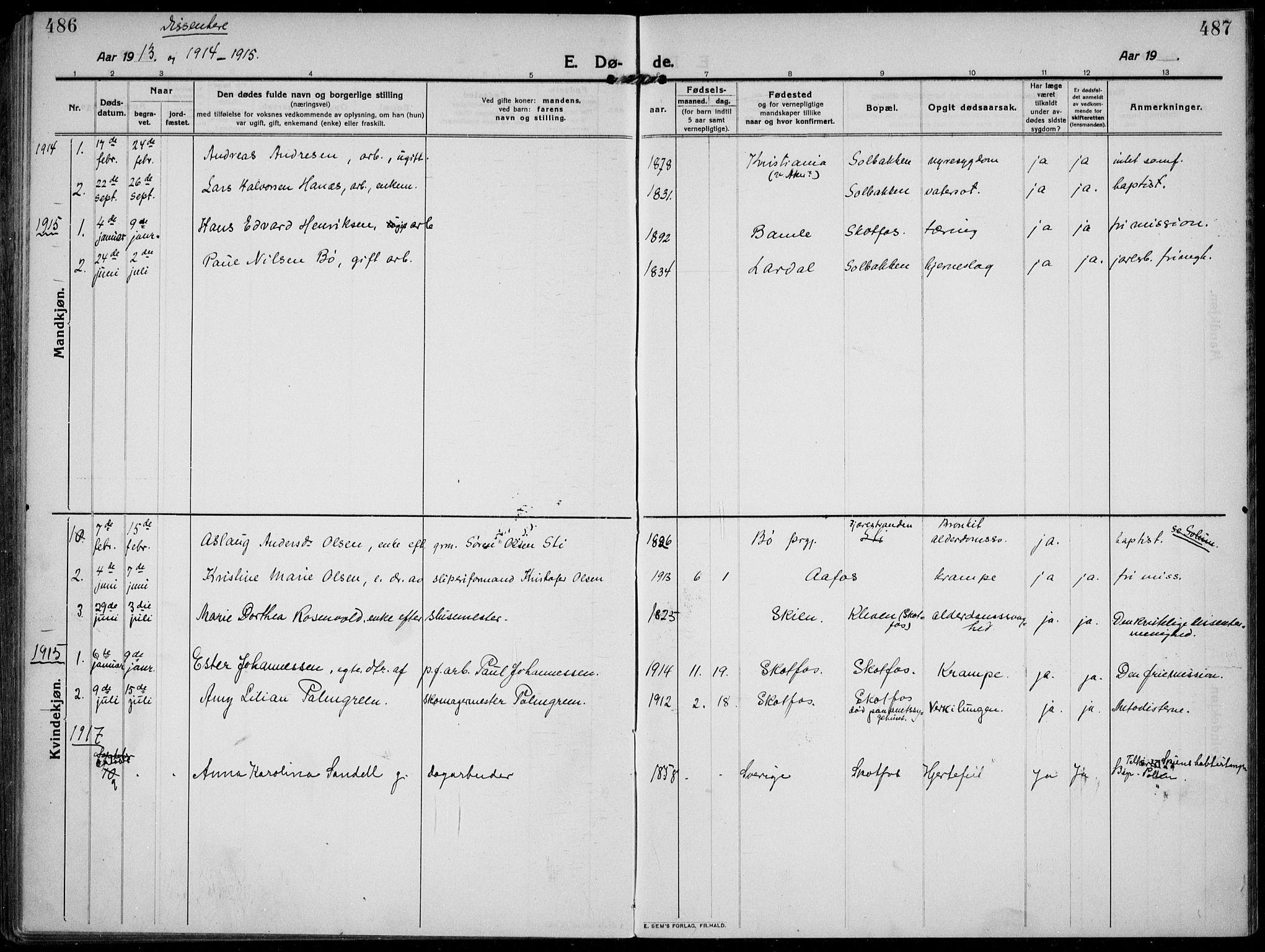 SAKO, Solum kirkebøker, F/Fb/L0004: Ministerialbok nr. II 4, 1913-1924, s. 486-487