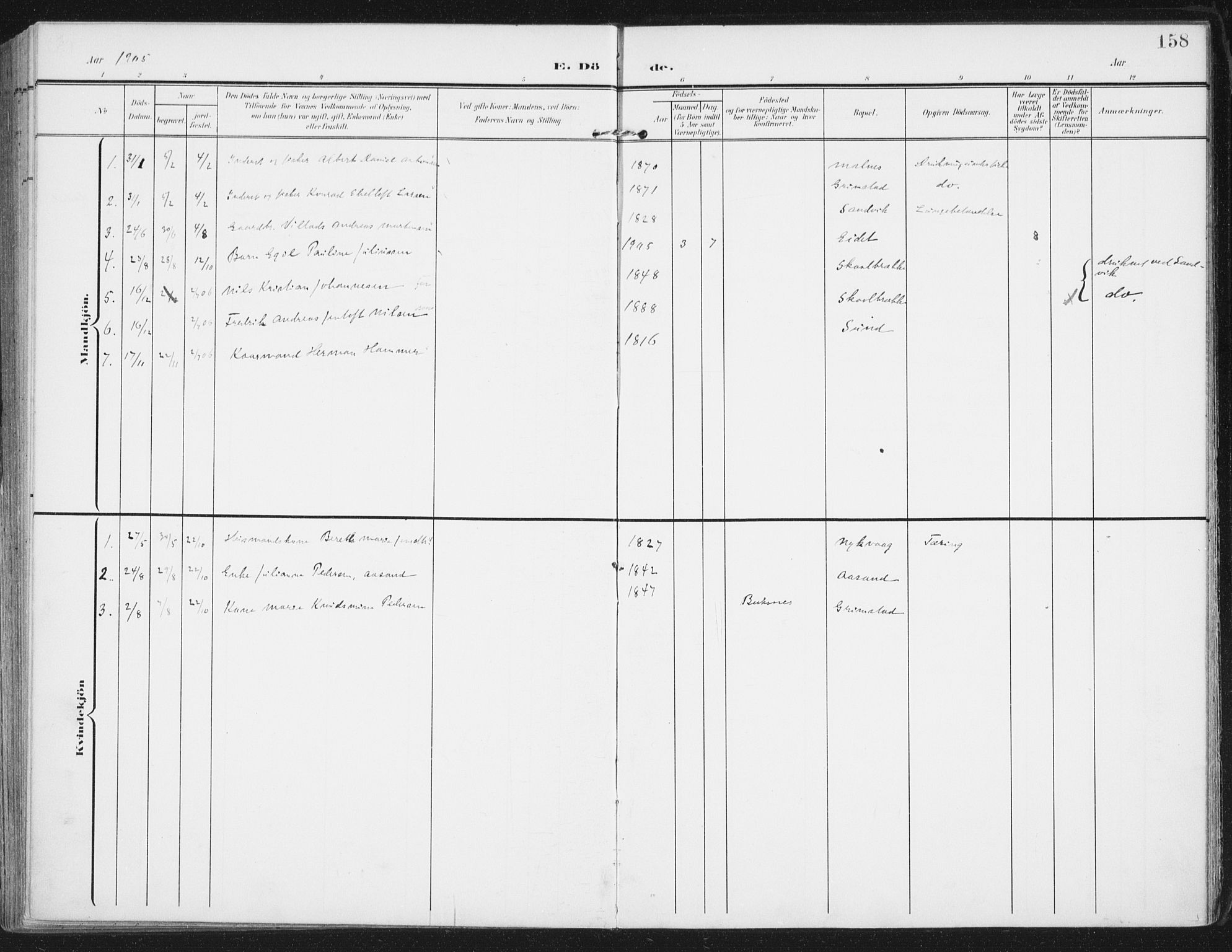 SAT, Ministerialprotokoller, klokkerbøker og fødselsregistre - Nordland, 892/L1321: Ministerialbok nr. 892A02, 1902-1918, s. 158