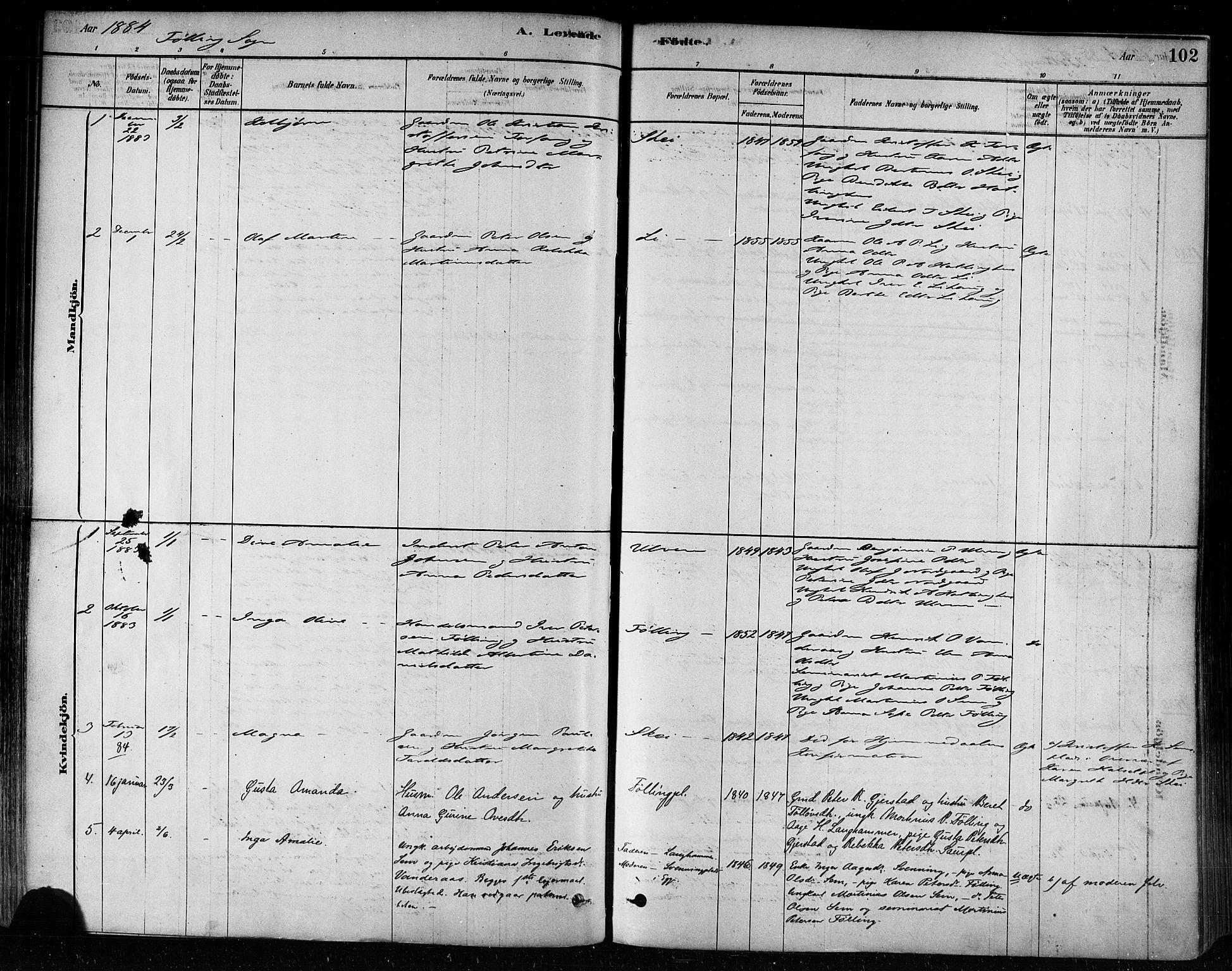 SAT, Ministerialprotokoller, klokkerbøker og fødselsregistre - Nord-Trøndelag, 746/L0449: Ministerialbok nr. 746A07 /3, 1878-1899, s. 102