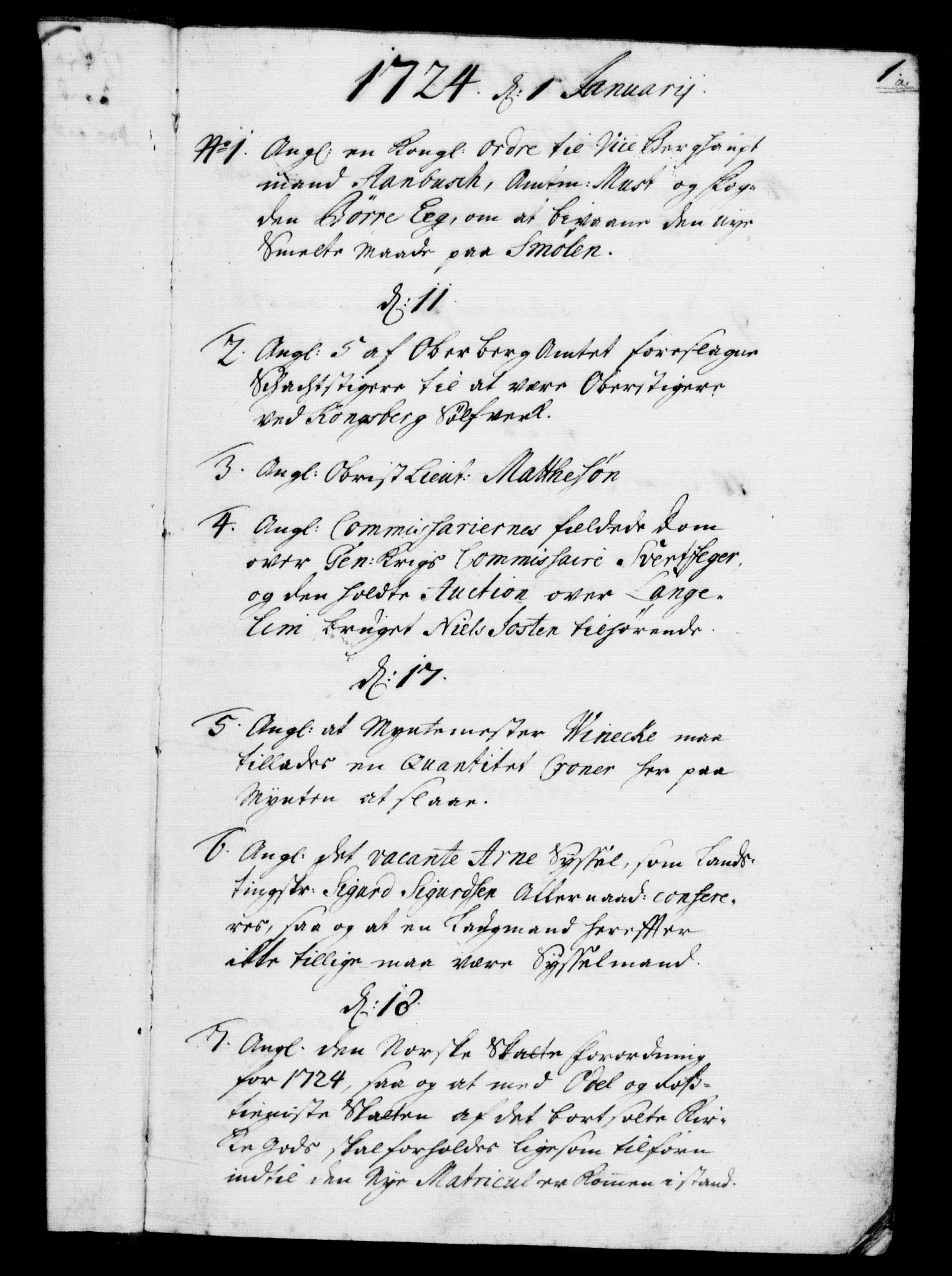 RA, Rentekammeret, Kammerkanselliet, G/Gf/Gfb/L0002: Register til norske relasjons- og resolusjonsprotokoller (merket RK 52.97), 1724-1728, s. 1