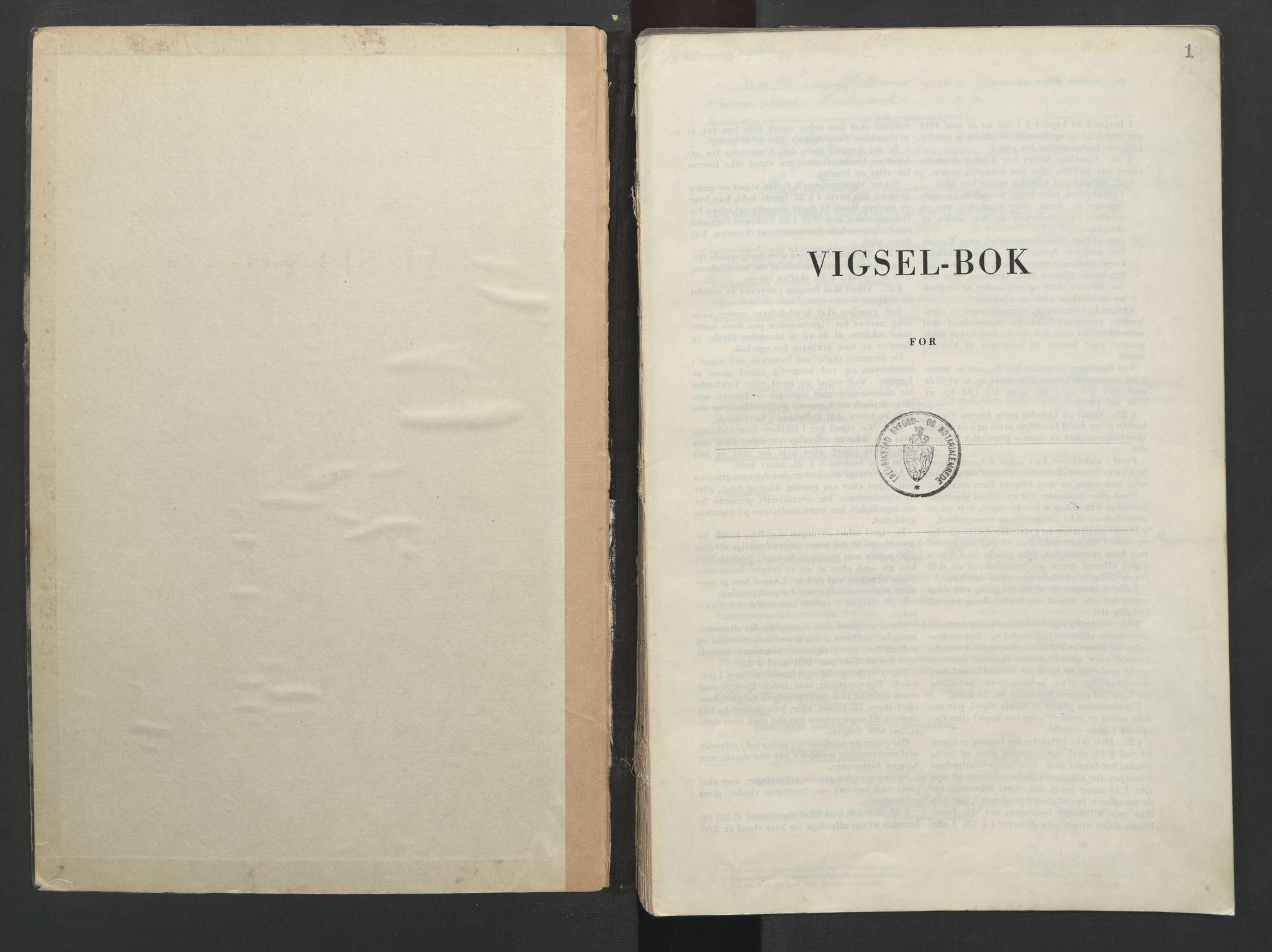 SAO, Fredrikstad byfogd, L/Lc/L0004: Vigselsbok, 1945-1953, s. 1