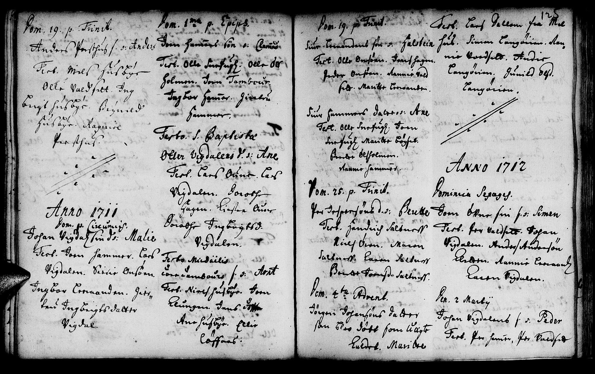 SAT, Ministerialprotokoller, klokkerbøker og fødselsregistre - Sør-Trøndelag, 666/L0783: Ministerialbok nr. 666A01, 1702-1753, s. 125