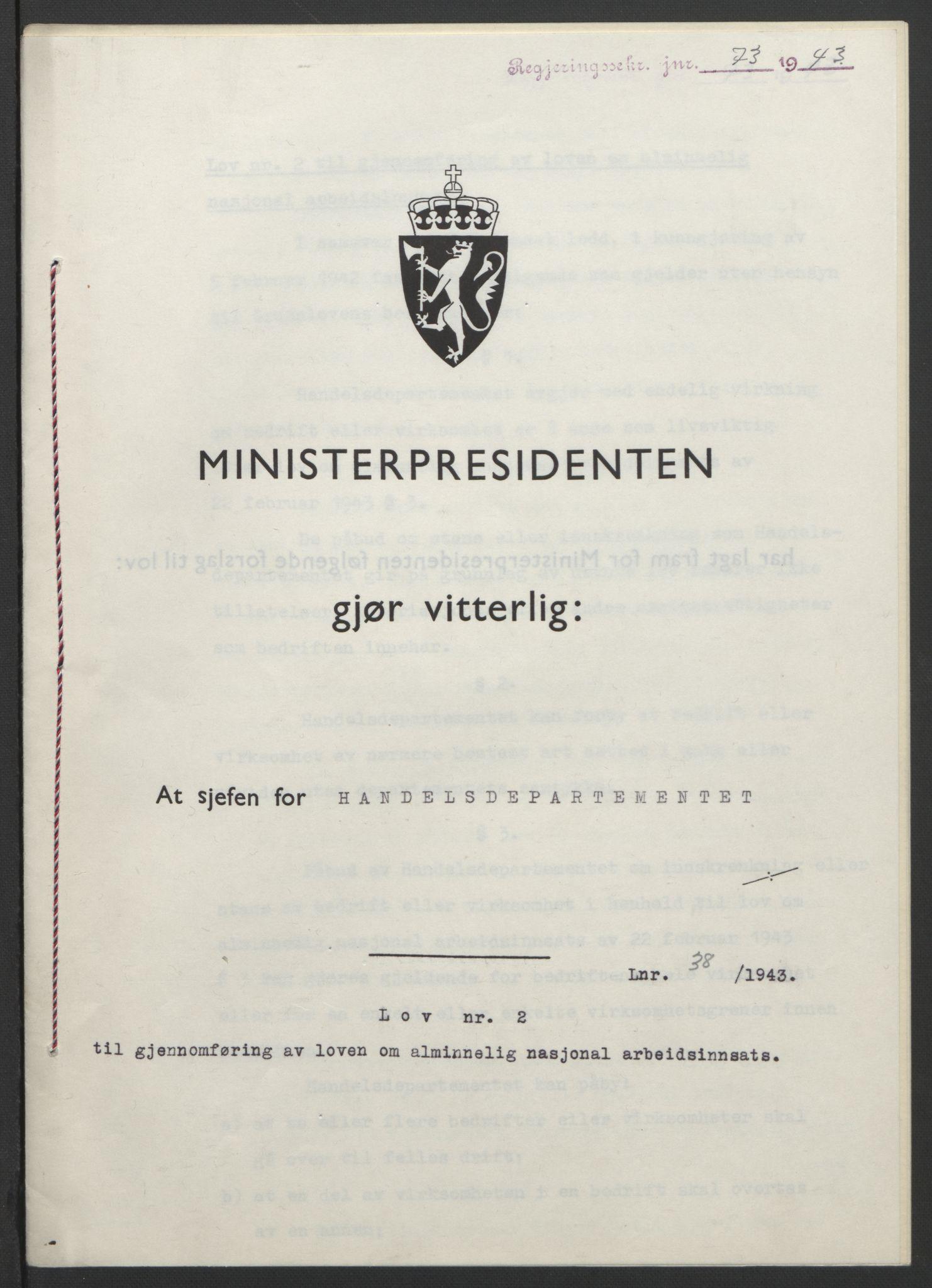 RA, NS-administrasjonen 1940-1945 (Statsrådsekretariatet, de kommisariske statsråder mm), D/Db/L0099: Lover, 1943, s. 162