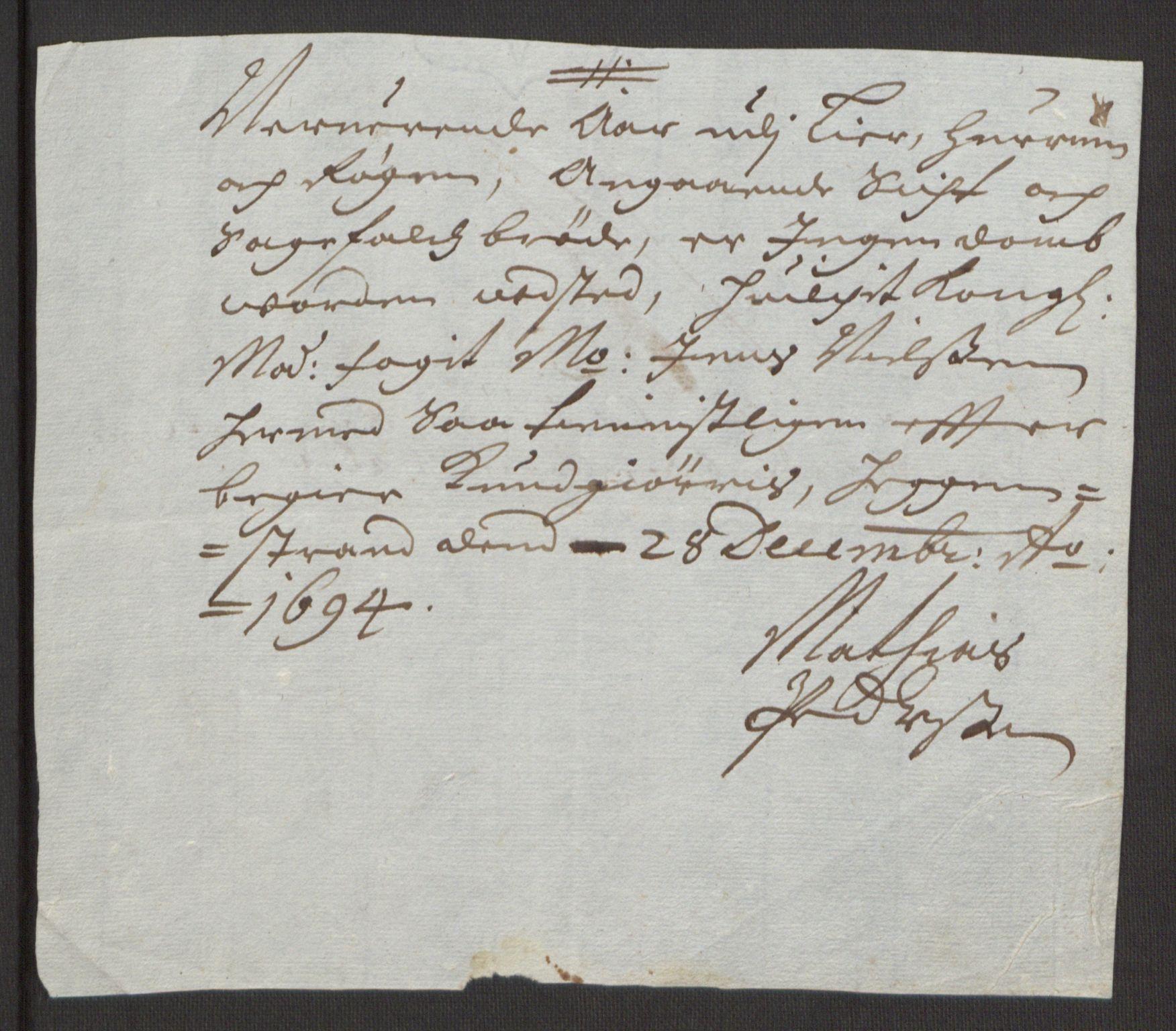 RA, Rentekammeret inntil 1814, Reviderte regnskaper, Fogderegnskap, R30/L1694: Fogderegnskap Hurum, Røyken, Eiker og Lier, 1694-1696, s. 17