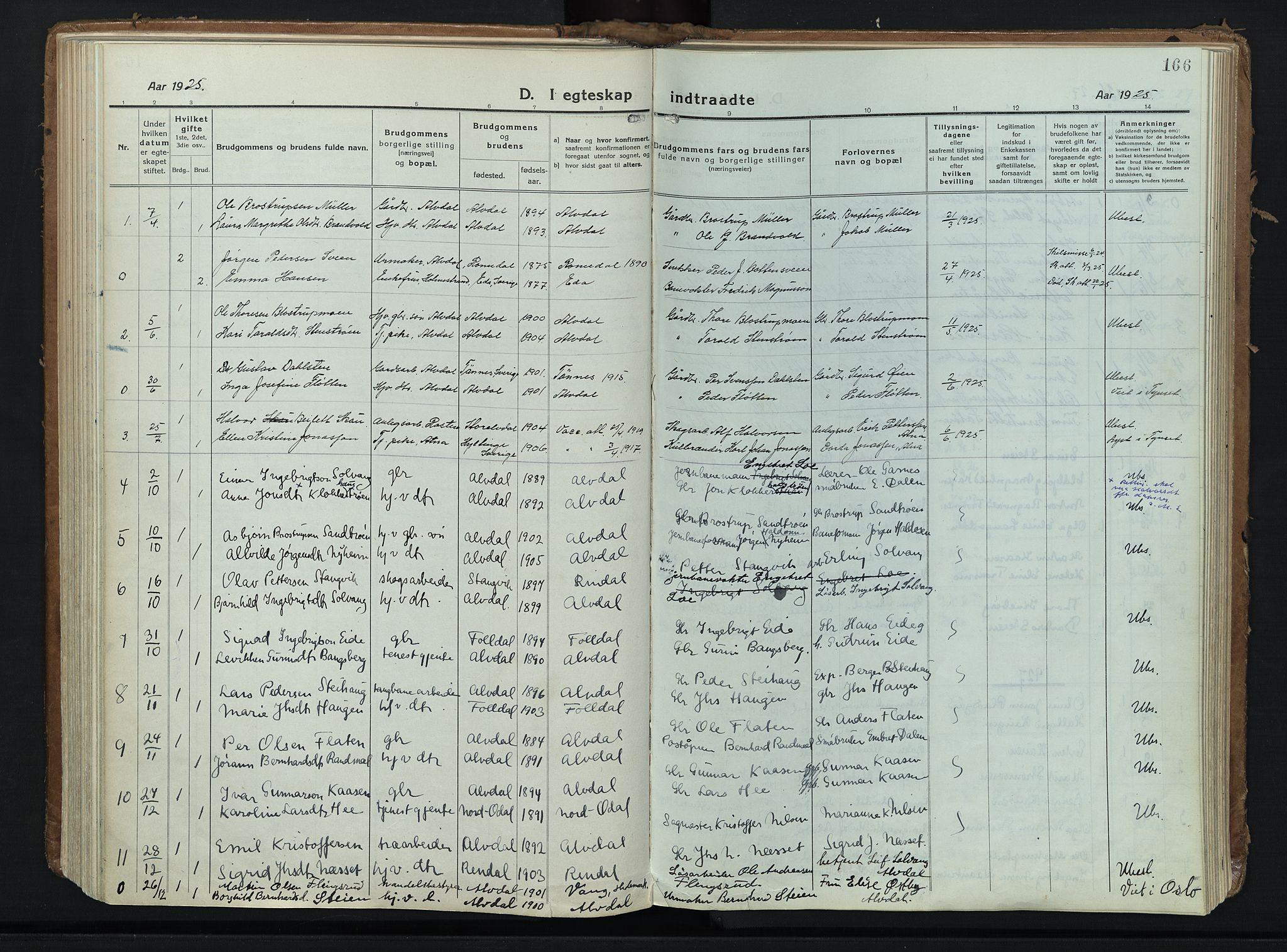 SAH, Alvdal prestekontor, Ministerialbok nr. 6, 1920-1937, s. 166
