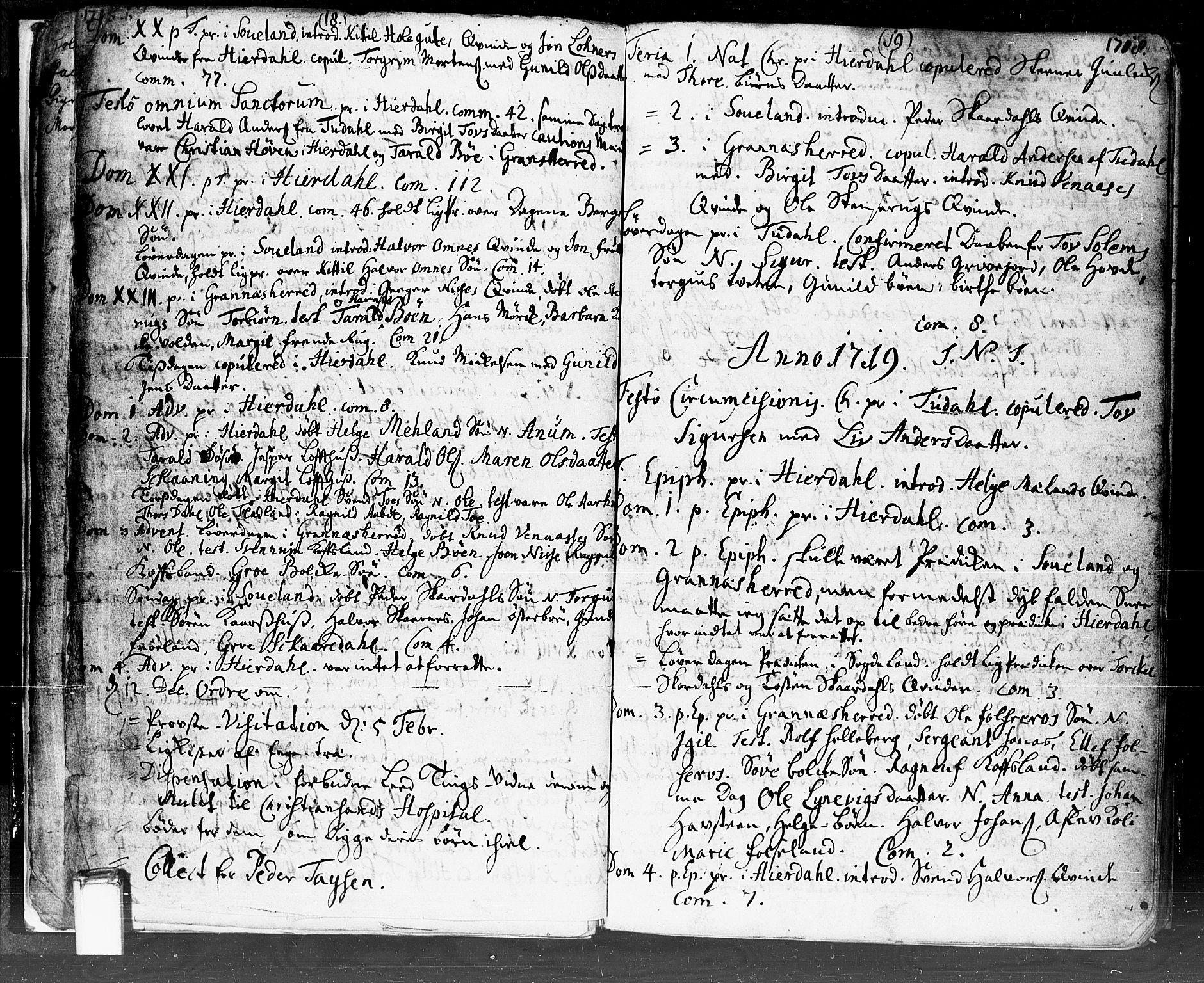 SAKO, Hjartdal kirkebøker, F/Fa/L0002: Ministerialbok nr. I 2, 1716-1754, s. 18-19