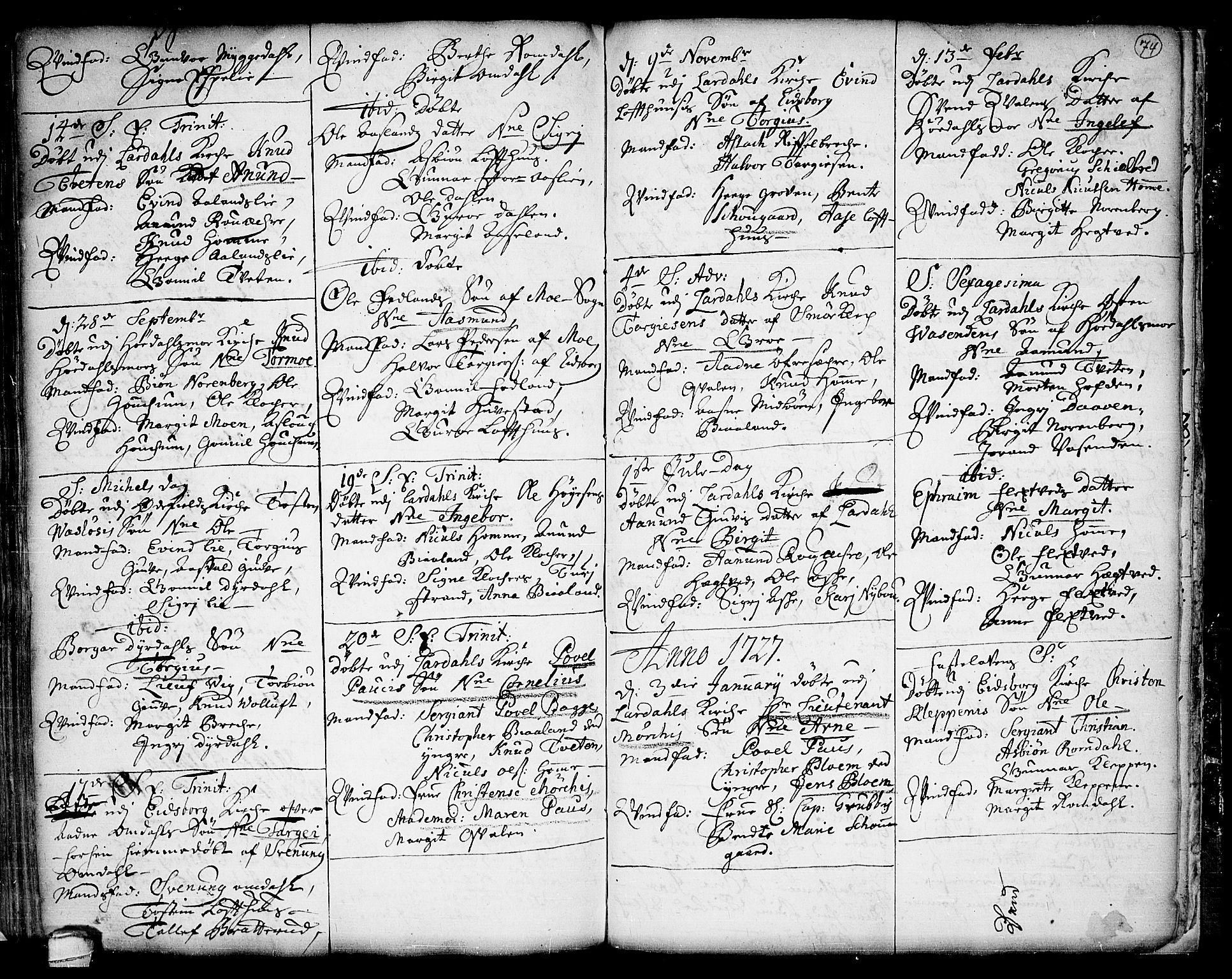 SAKO, Lårdal kirkebøker, F/Fa/L0001: Ministerialbok nr. I 1, 1721-1734, s. 74
