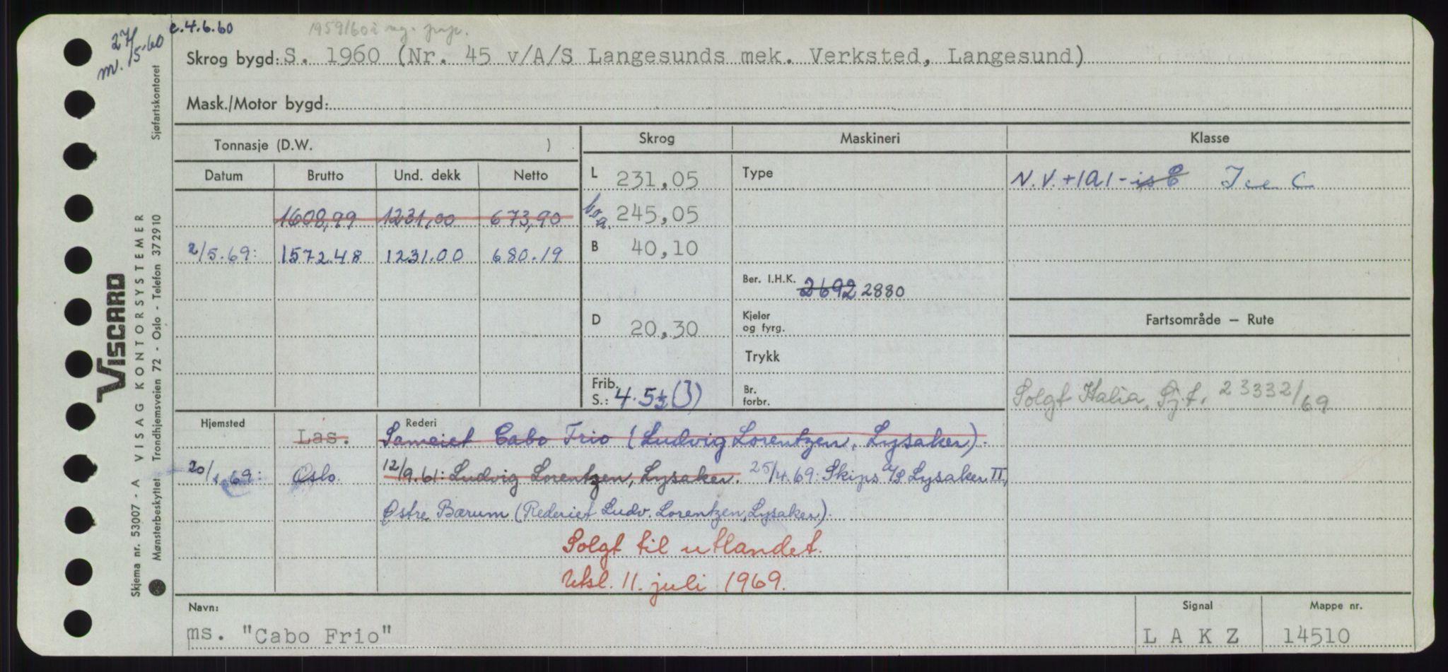 RA, Sjøfartsdirektoratet med forløpere, Skipsmålingen, H/Hd/L0008: Fartøy, C-D, s. 21