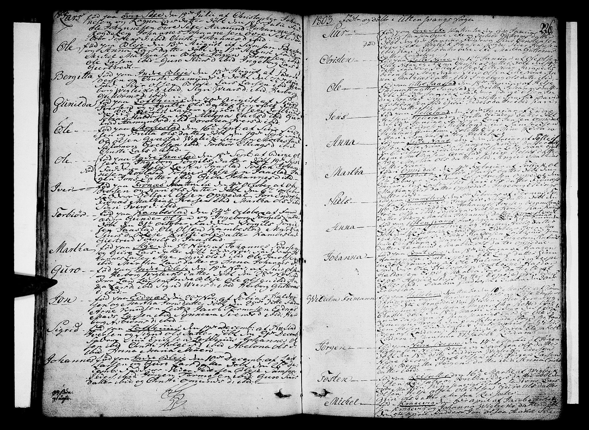 SAB, Ullensvang Sokneprestembete, H/Haa: Ministerialbok nr. A 7 /1, 1788-1804, s. 225-226