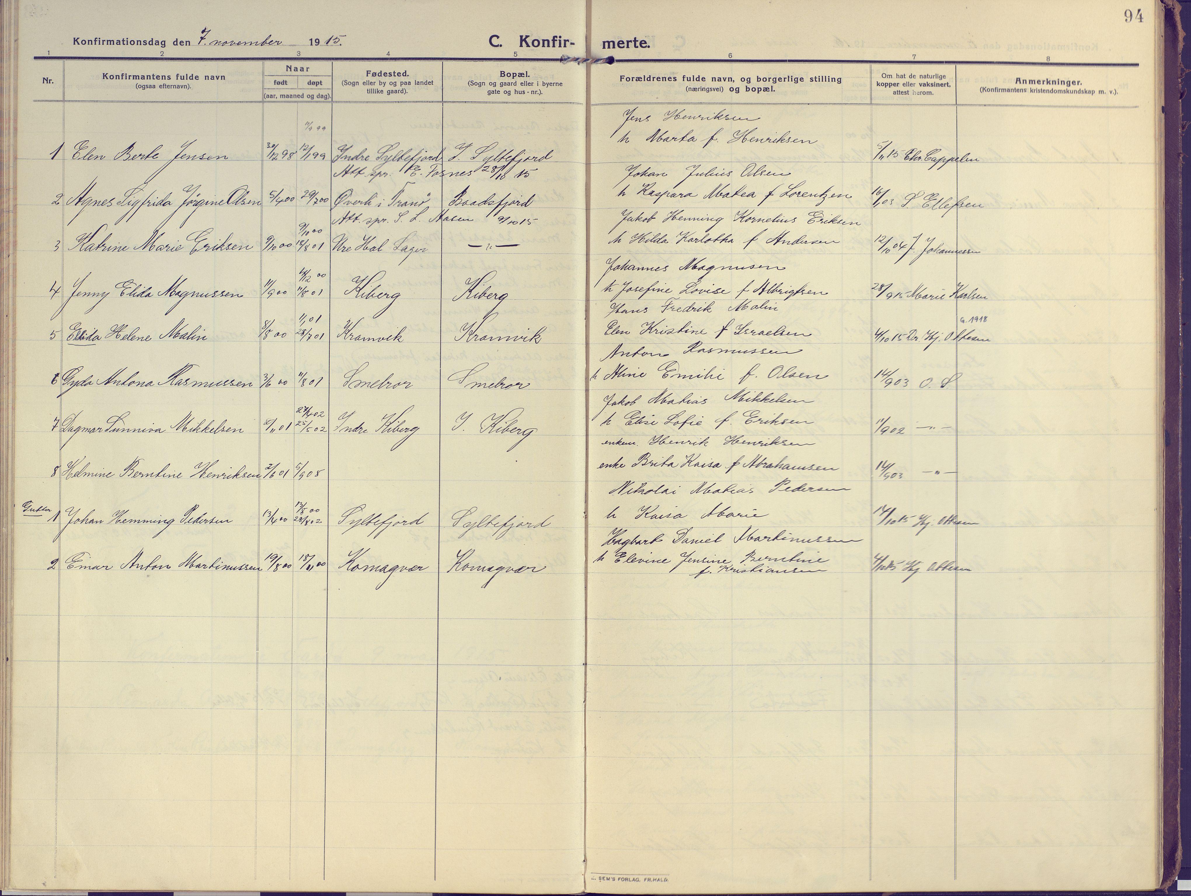 SATØ, Vardø sokneprestkontor, H/Ha/L0013kirke: Ministerialbok nr. 13, 1912-1928, s. 94