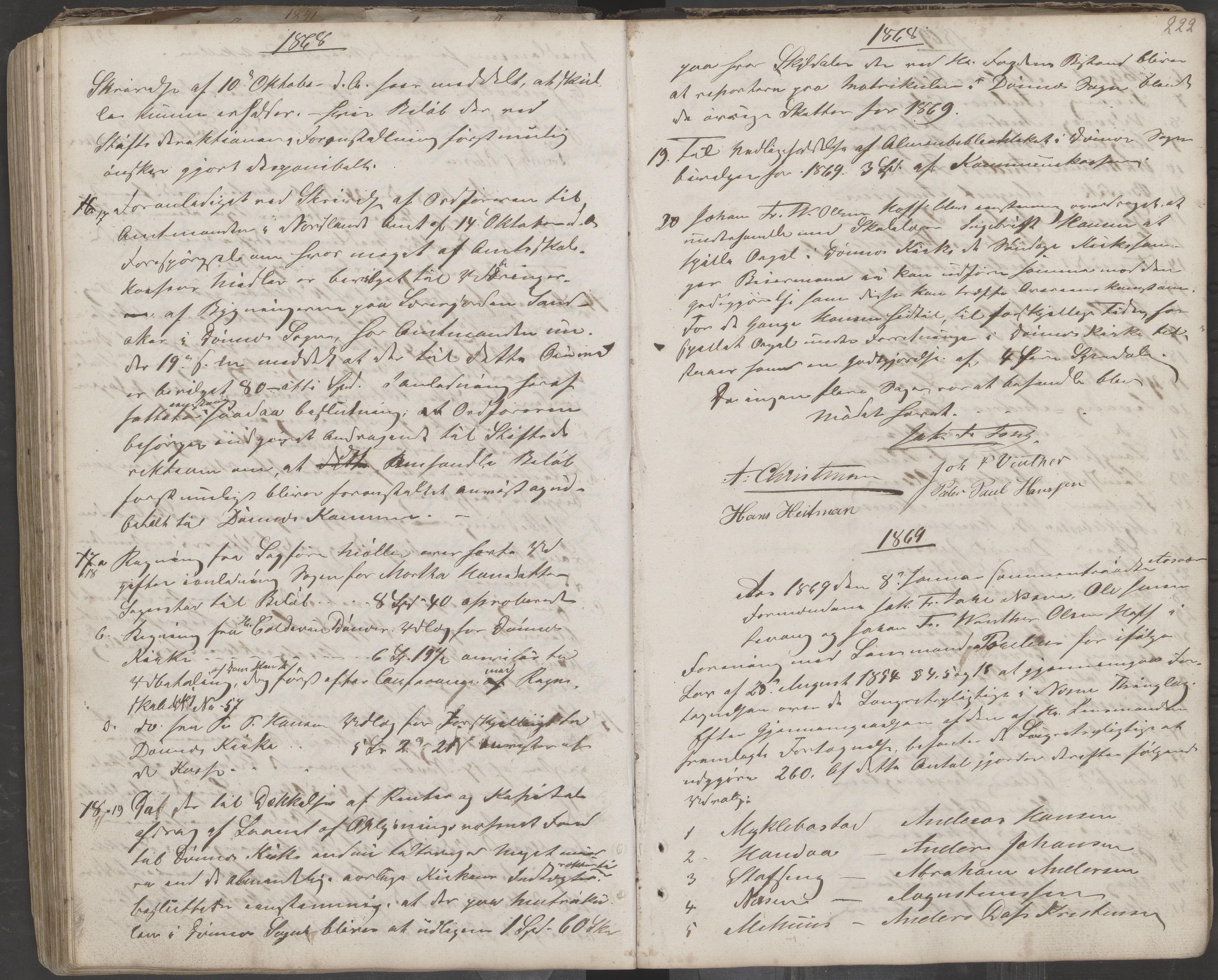 AIN, Nesna kommune. Formannskapet, 100/L0001: Møtebok, 1838-1873, s. 222