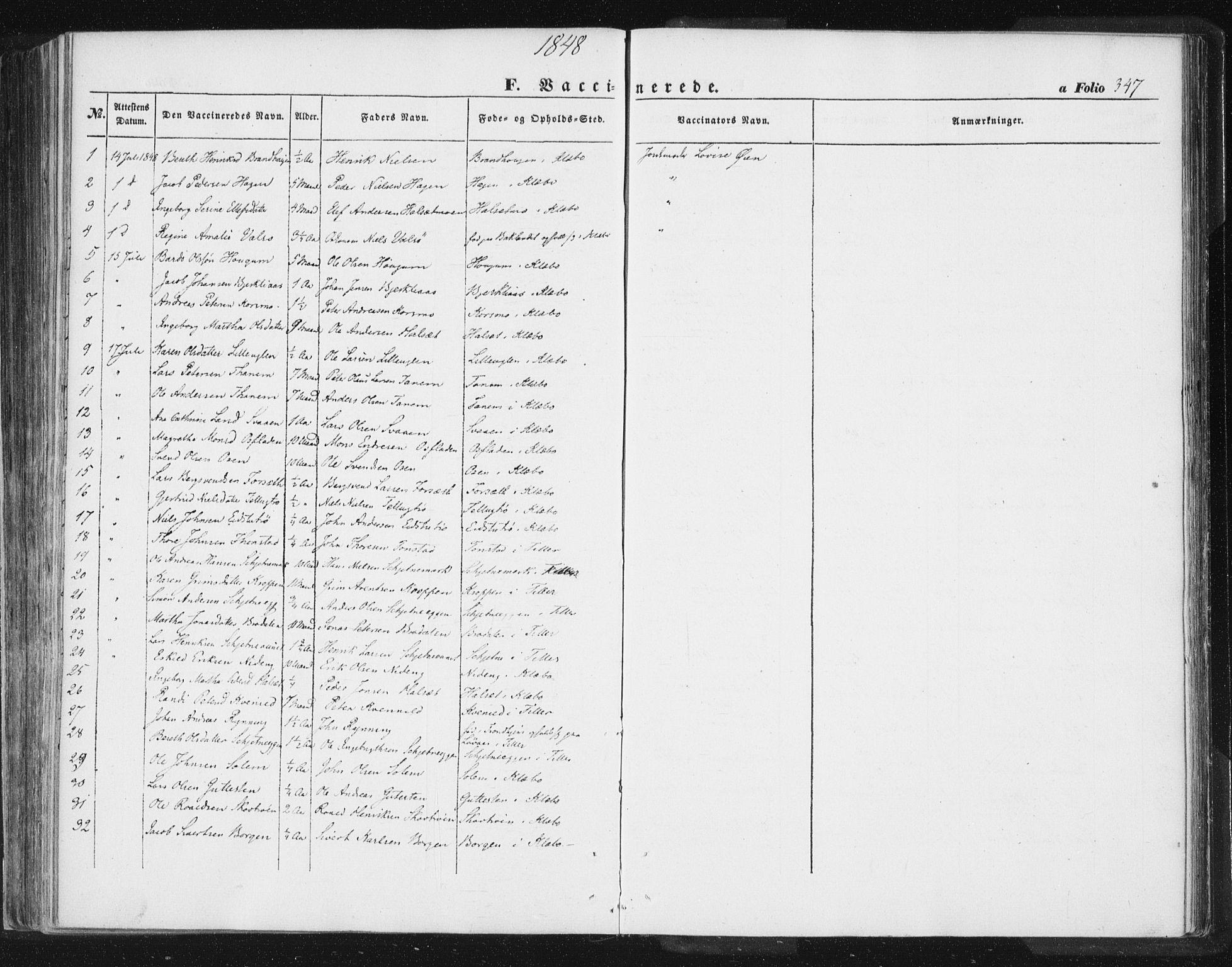 SAT, Ministerialprotokoller, klokkerbøker og fødselsregistre - Sør-Trøndelag, 618/L0441: Ministerialbok nr. 618A05, 1843-1862, s. 347