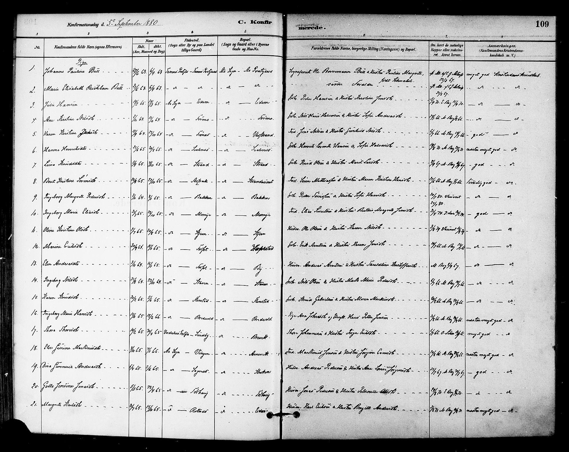 SAT, Ministerialprotokoller, klokkerbøker og fødselsregistre - Sør-Trøndelag, 655/L0680: Ministerialbok nr. 655A09, 1880-1894, s. 109