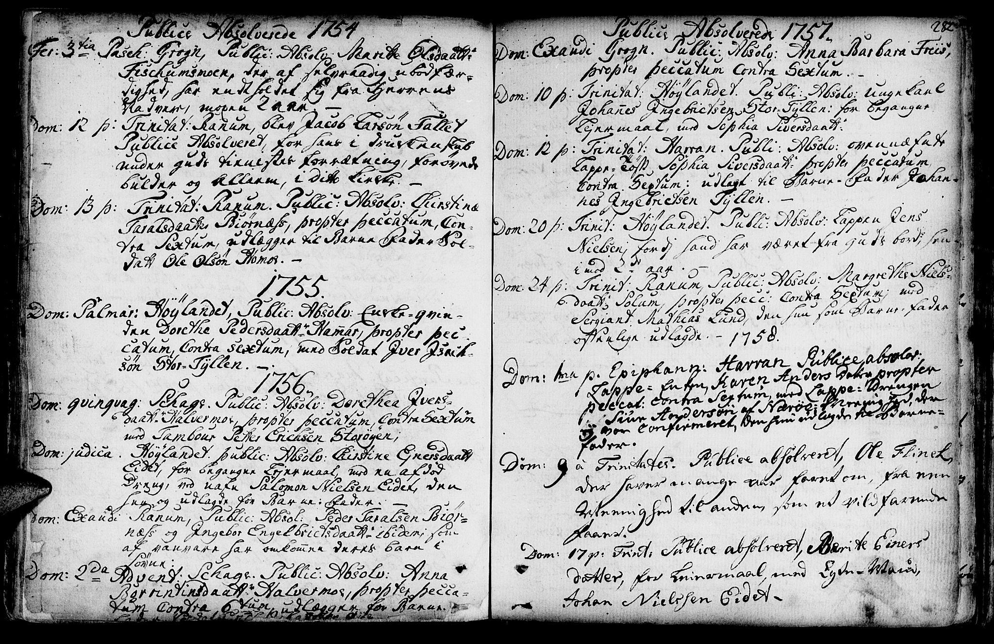 SAT, Ministerialprotokoller, klokkerbøker og fødselsregistre - Nord-Trøndelag, 764/L0542: Ministerialbok nr. 764A02, 1748-1779, s. 282