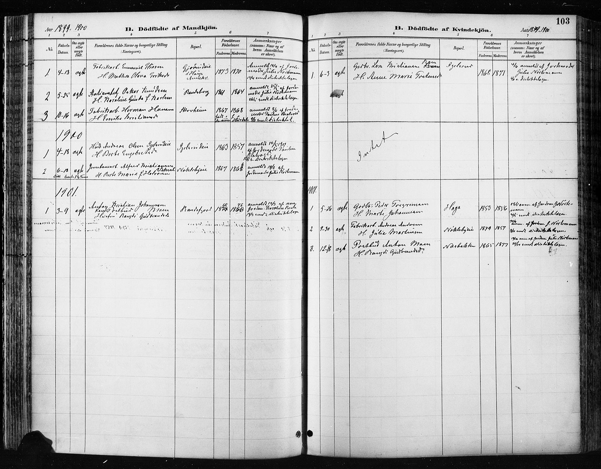 SAH, Jevnaker prestekontor, Ministerialbok nr. 9, 1891-1901, s. 103