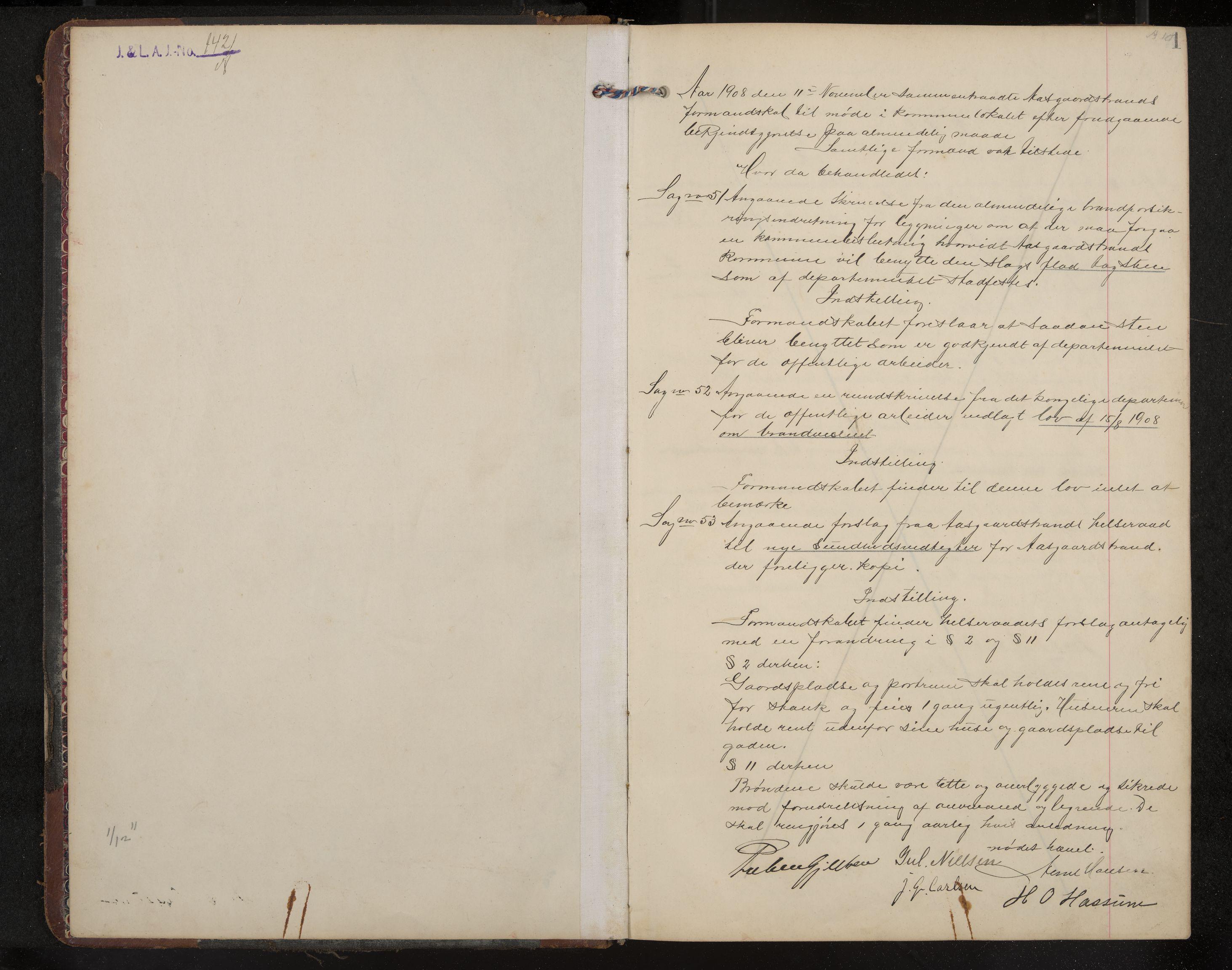 IKAK, Åsgårdstrand formannskap og sentraladministrasjon, A/L0004: Møtebok med register, 1908-1915, s. 1