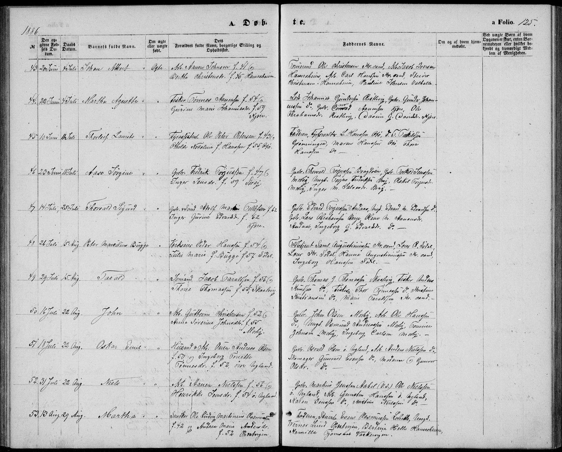SAK, Oddernes sokneprestkontor, F/Fb/Fba/L0007: Klokkerbok nr. B 7, 1869-1887, s. 125