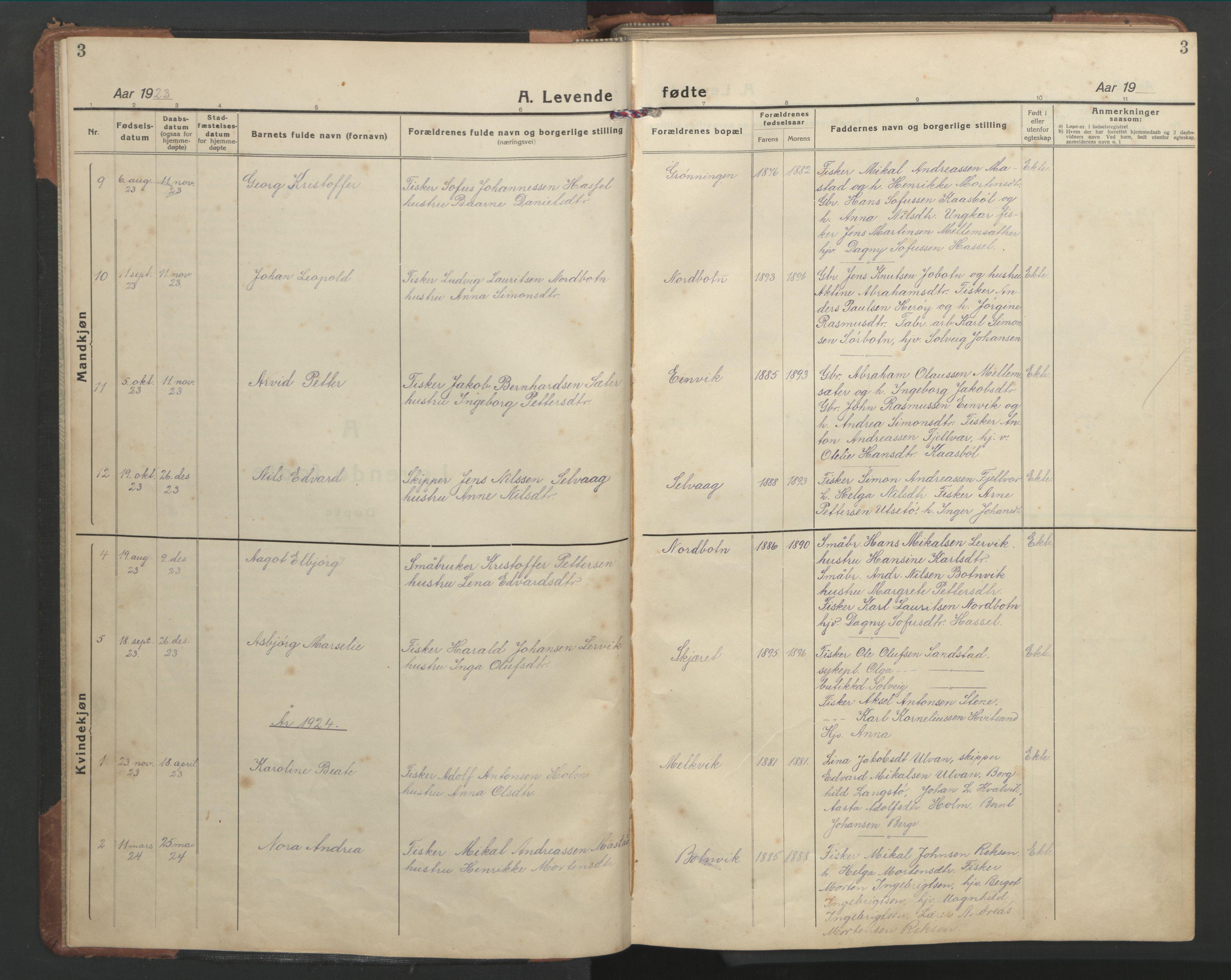 SAT, Ministerialprotokoller, klokkerbøker og fødselsregistre - Sør-Trøndelag, 638/L0569: Klokkerbok nr. 638C01, 1923-1961, s. 3