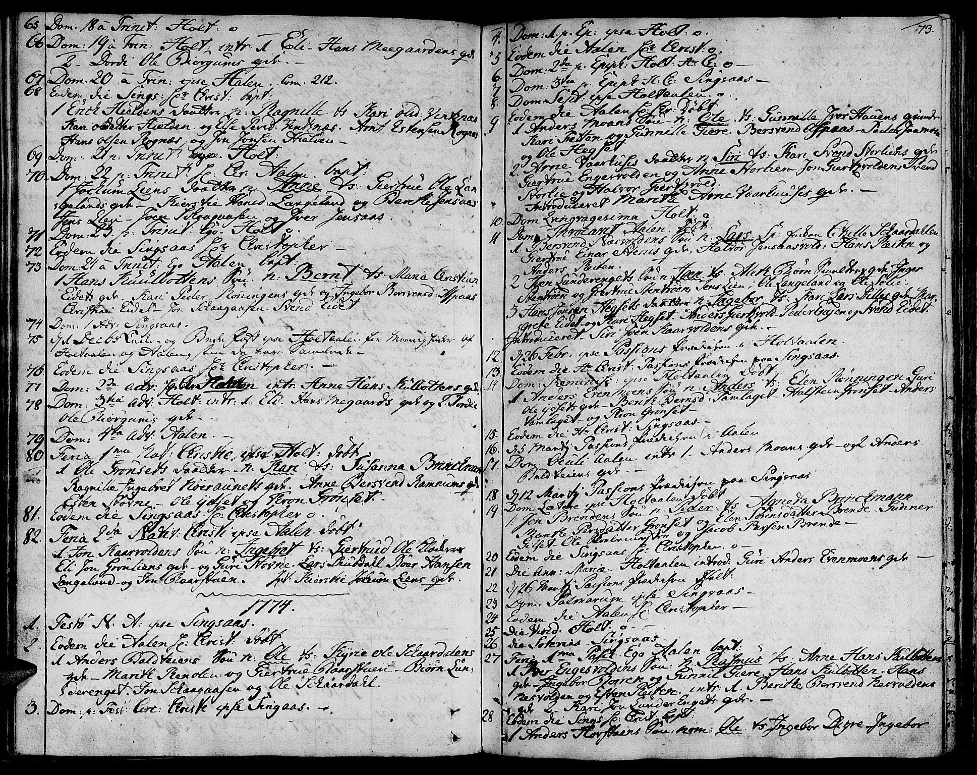 SAT, Ministerialprotokoller, klokkerbøker og fødselsregistre - Sør-Trøndelag, 685/L0952: Ministerialbok nr. 685A01, 1745-1804, s. 73