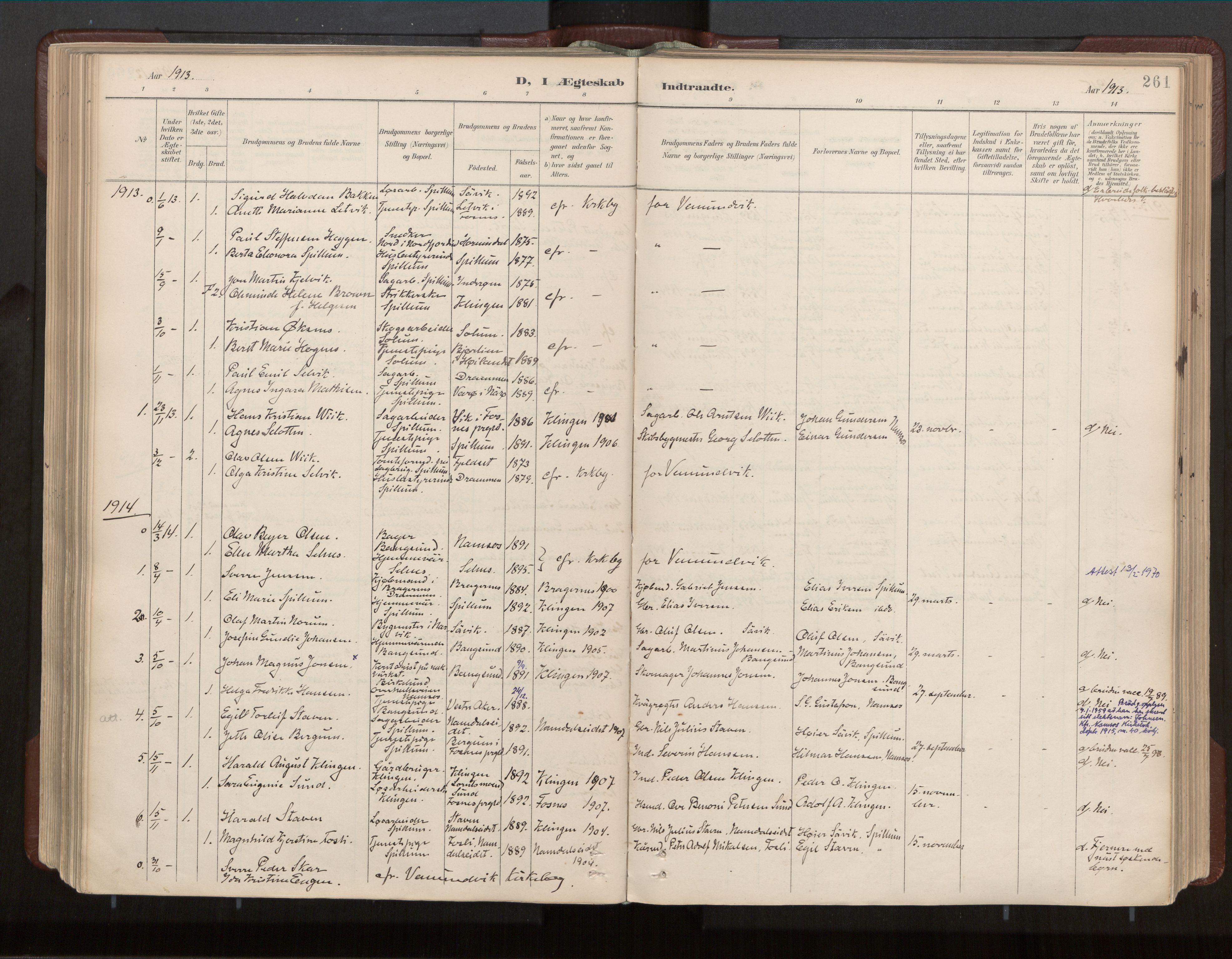 SAT, Ministerialprotokoller, klokkerbøker og fødselsregistre - Nord-Trøndelag, 770/L0589: Ministerialbok nr. 770A03, 1887-1929, s. 261