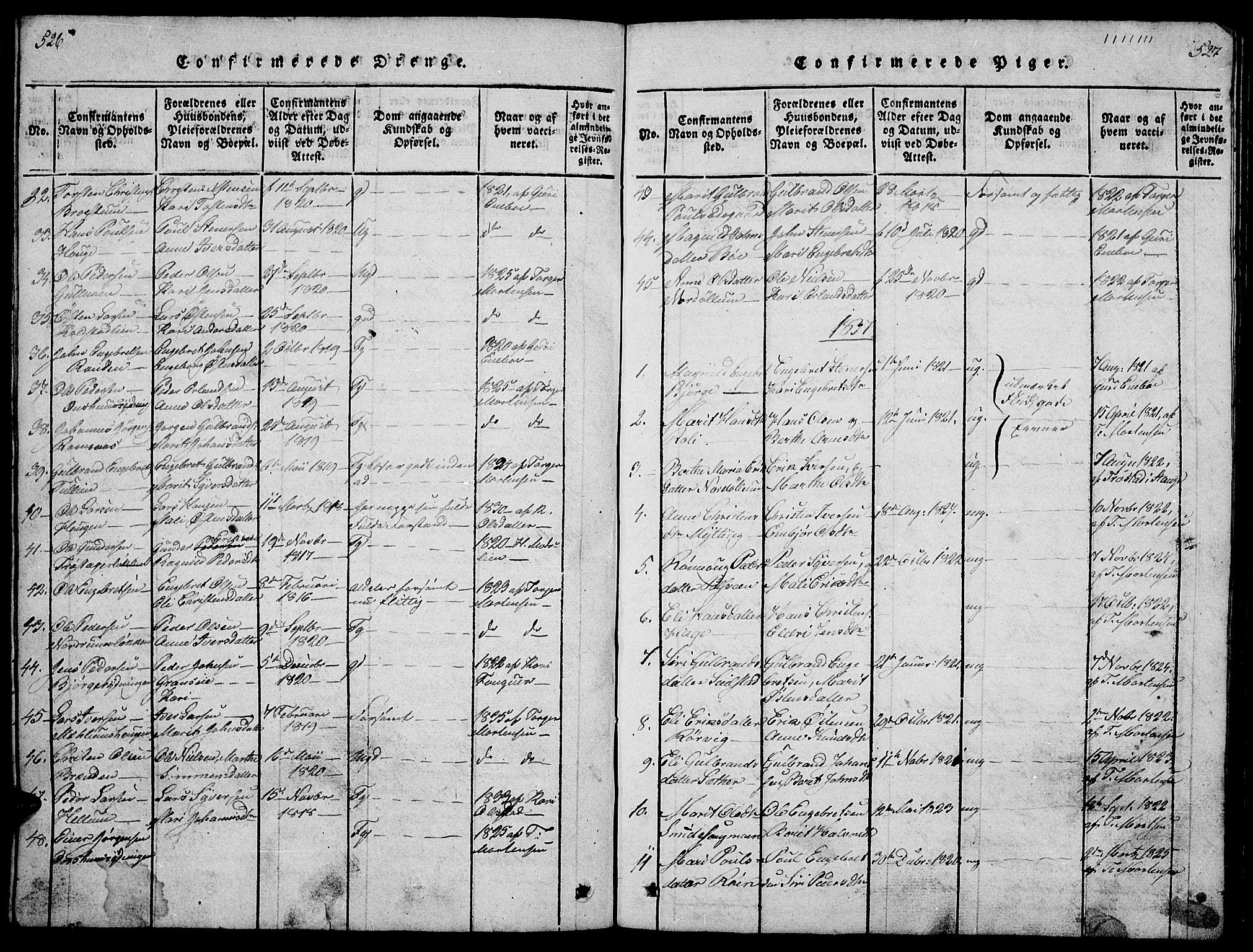 SAH, Ringebu prestekontor, Klokkerbok nr. 1, 1821-1839, s. 526-527