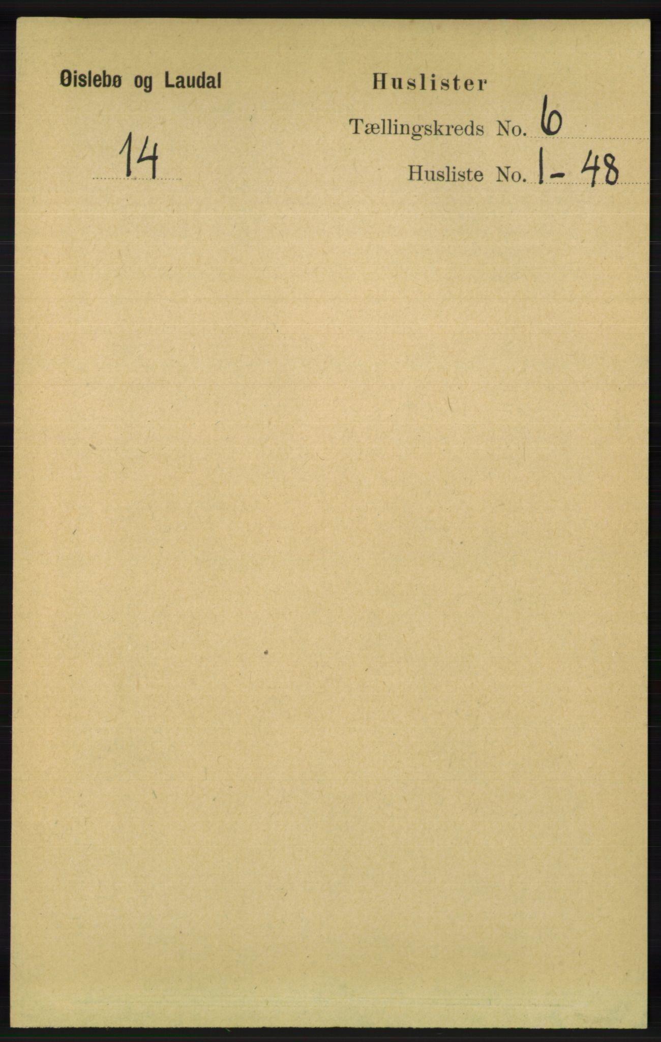 RA, Folketelling 1891 for 1021 Øyslebø og Laudal herred, 1891, s. 1643