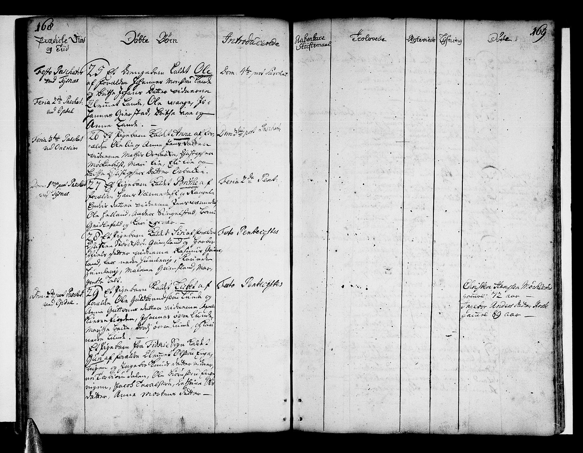 SAB, Tysnes Sokneprestembete, H/Haa: Ministerialbok nr. A 4, 1750-1761, s. 168-169