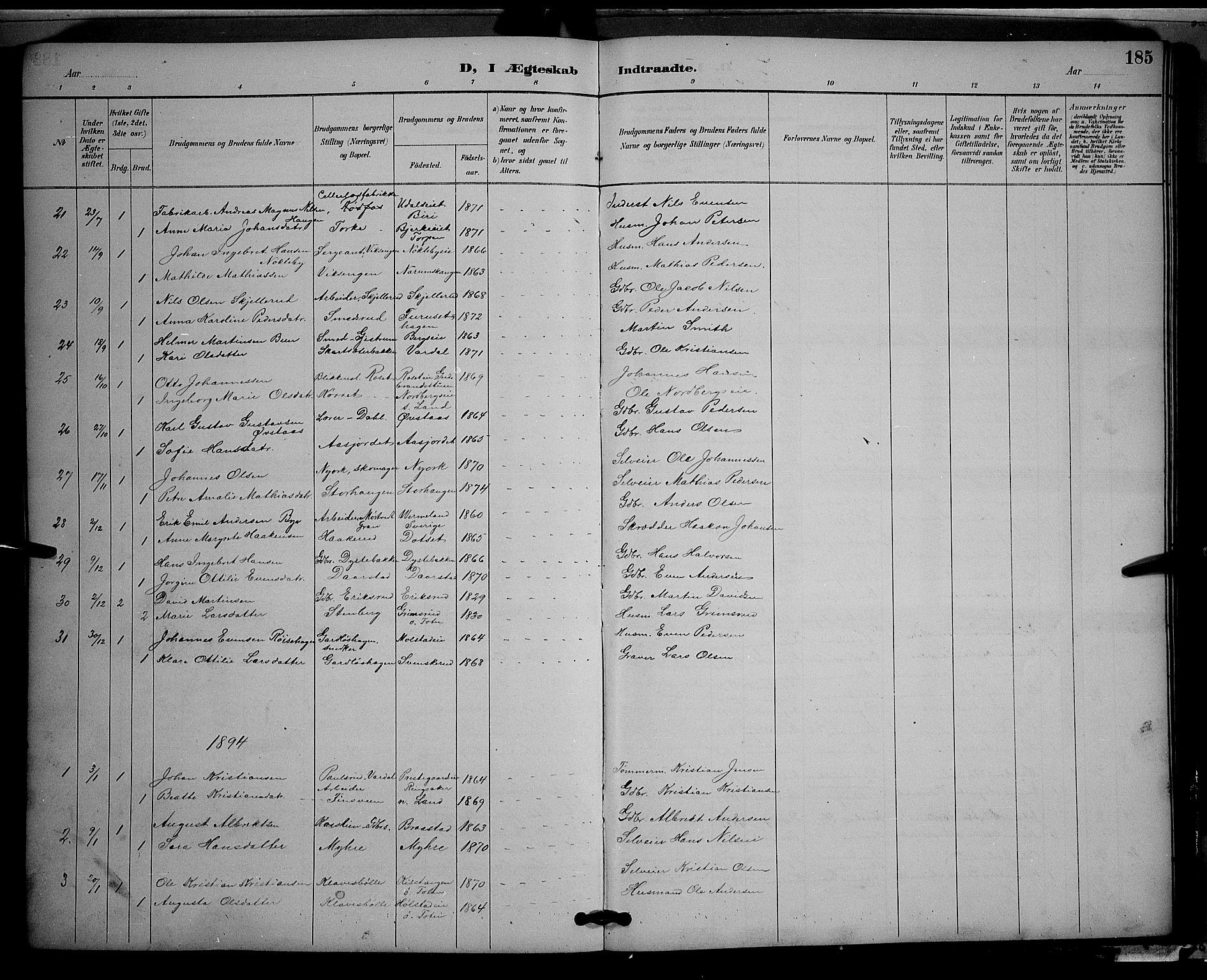 SAH, Vestre Toten prestekontor, H/Ha/Hab/L0009: Klokkerbok nr. 9, 1888-1900, s. 185