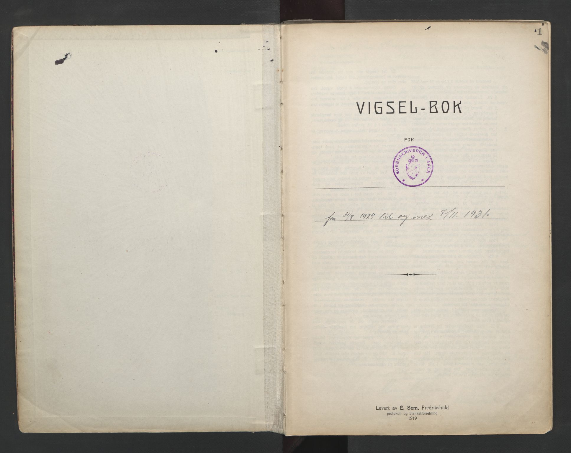 SAO, Aker sorenskriveri, L/Lc/Lcb/L0005: Vigselprotokoll, 1929-1931, s. 1