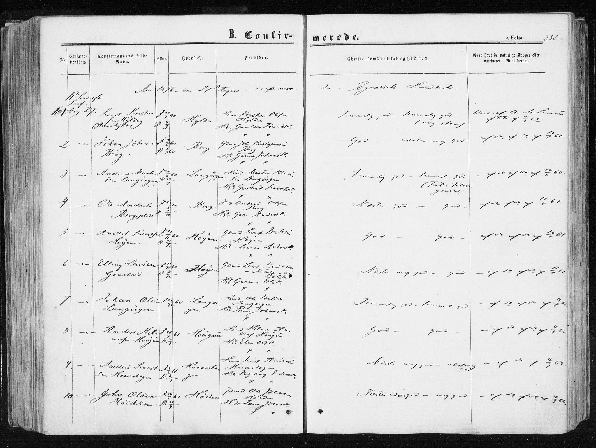 SAT, Ministerialprotokoller, klokkerbøker og fødselsregistre - Sør-Trøndelag, 612/L0377: Ministerialbok nr. 612A09, 1859-1877, s. 238