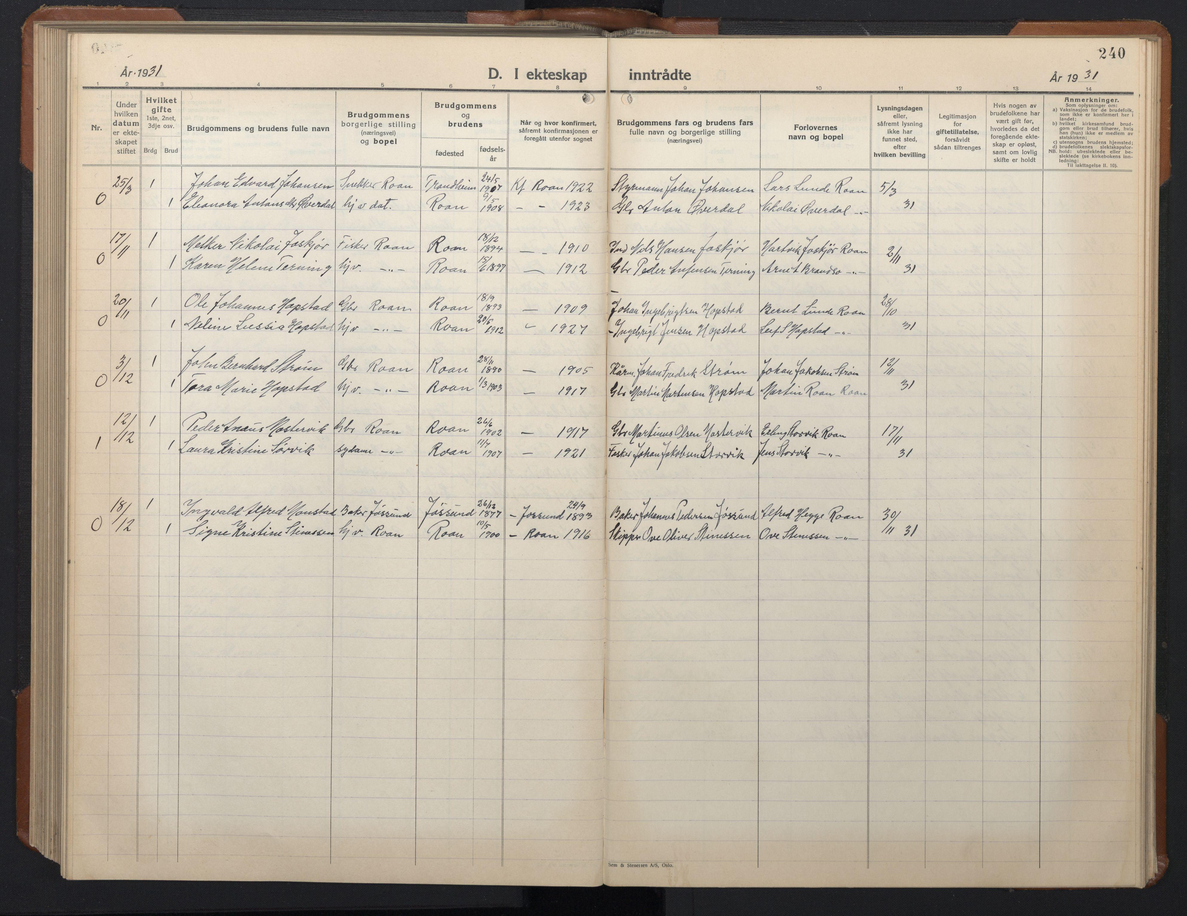 SAT, Ministerialprotokoller, klokkerbøker og fødselsregistre - Sør-Trøndelag, 657/L0718: Klokkerbok nr. 657C05, 1923-1948, s. 240